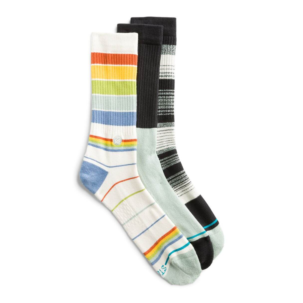 Stitch Fix Men's crew sock pack in rainbow stripes, black and mint, black and white stripes.