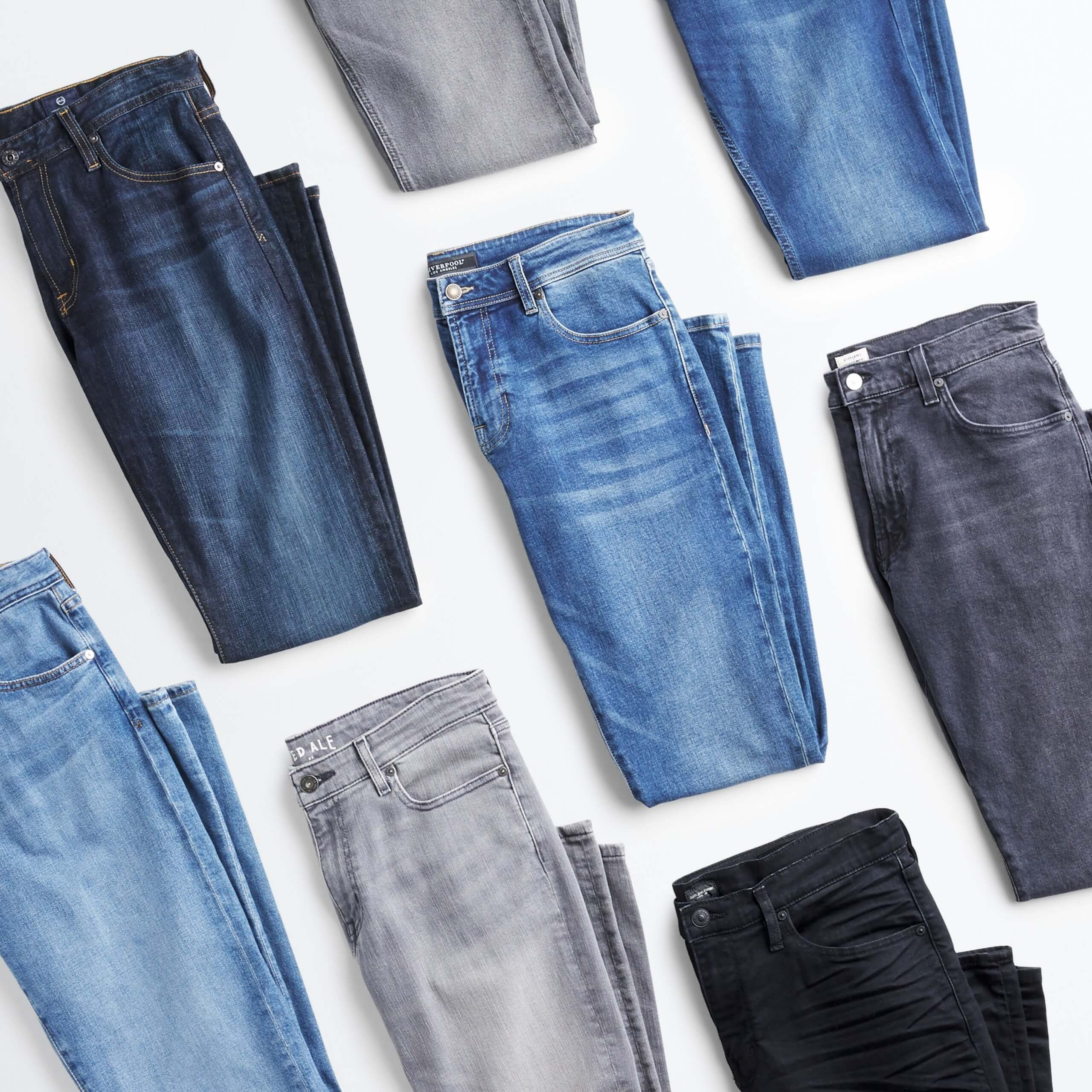 Stitch Fix Men's outfit laydown featuring jeans in dark blue wash, grey, black and light blue.