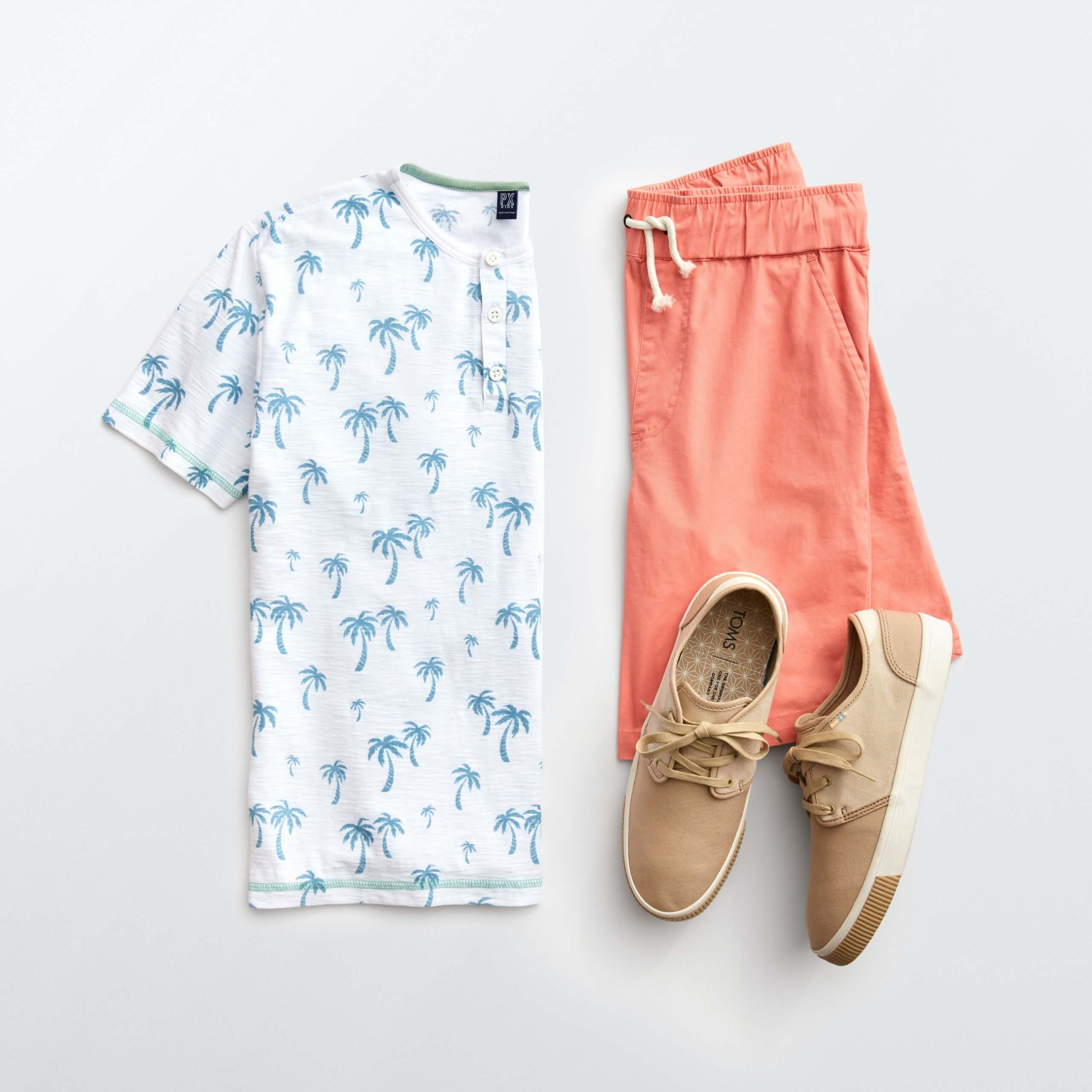 Stitch Fix Men's outfit laydown featuring salmon shorts with white short sleeve henley with blue palm tree print and brown canvas sneakers.