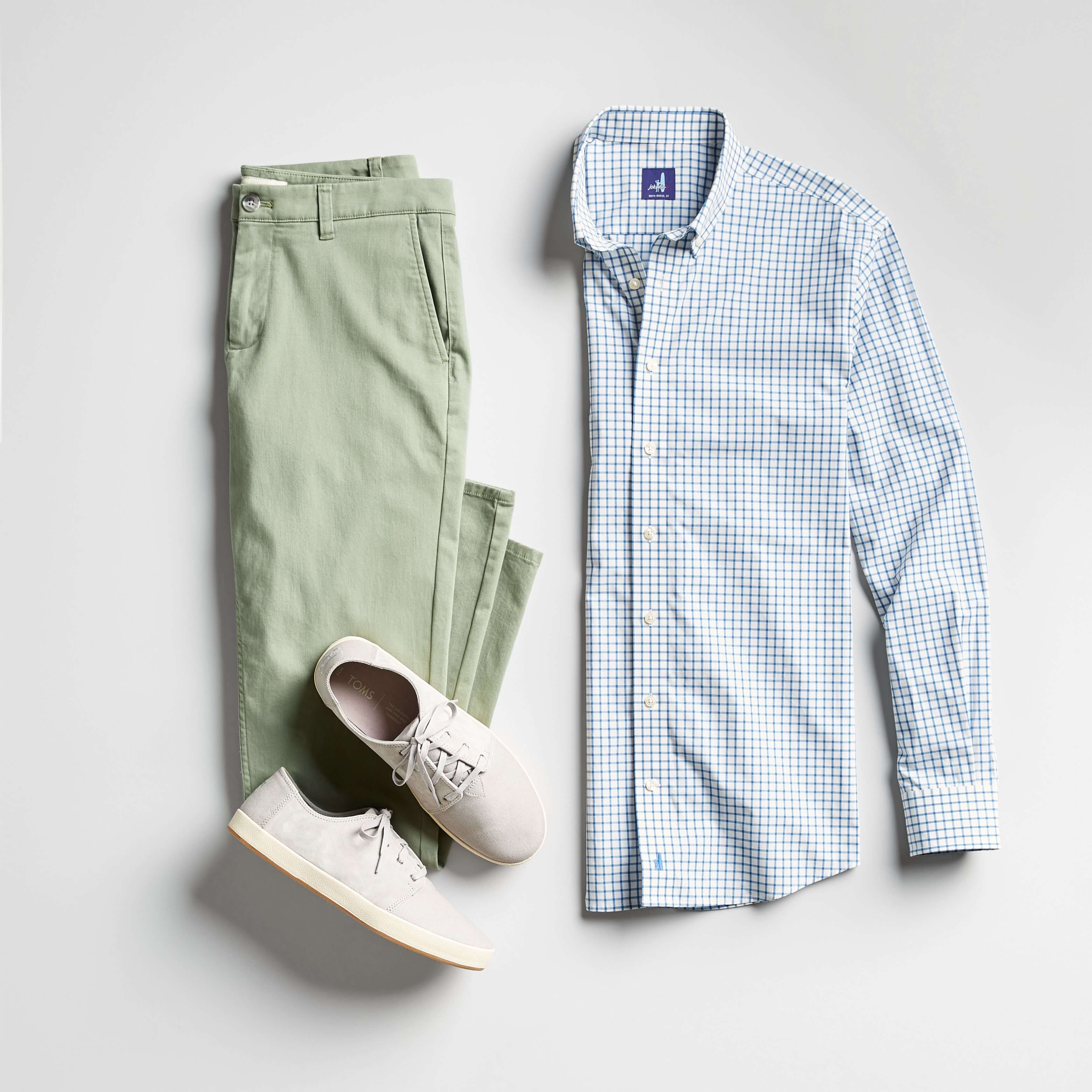 green chinos and blue button down
