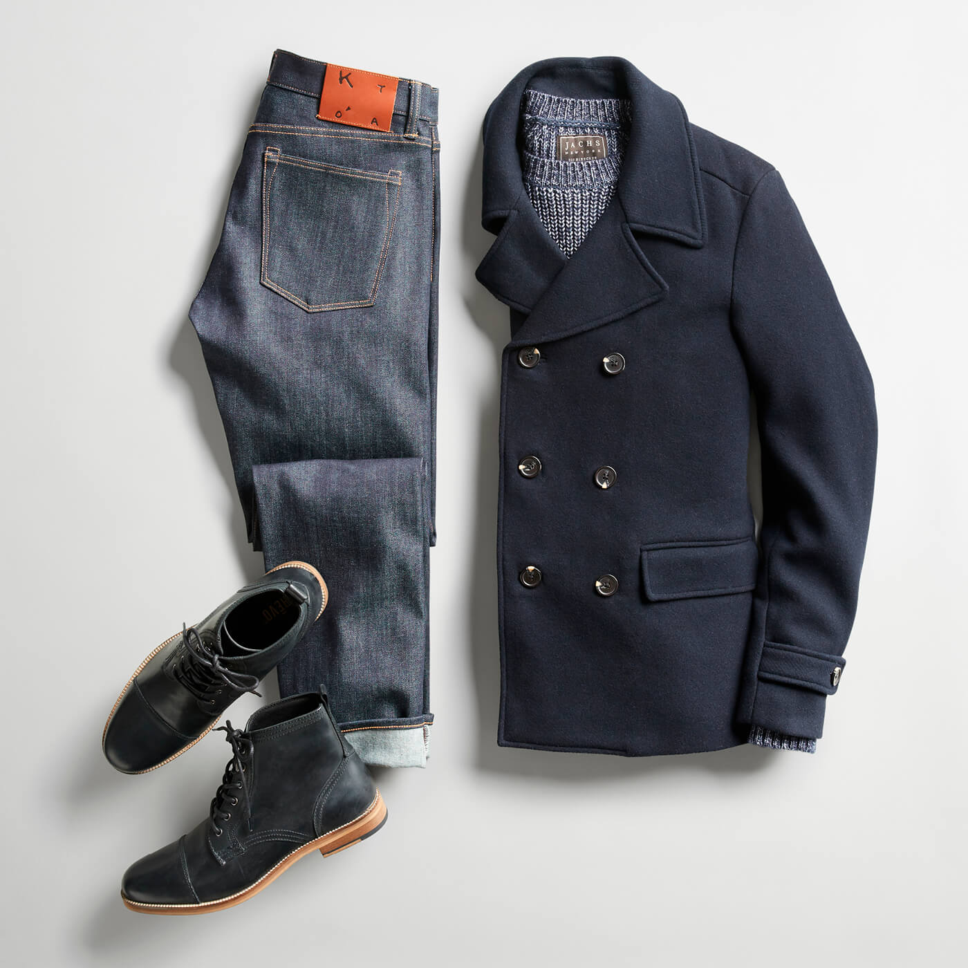 blue peacoat and raw denim