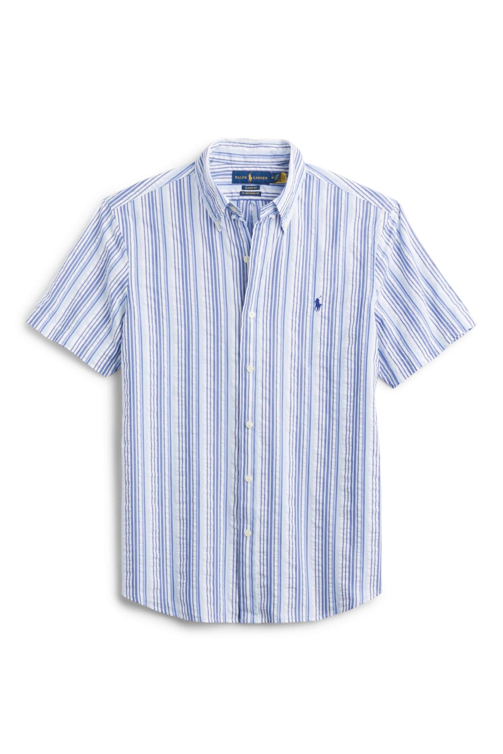 Stitch Fix Men's blue and white striped short sleeve button-down shirt.