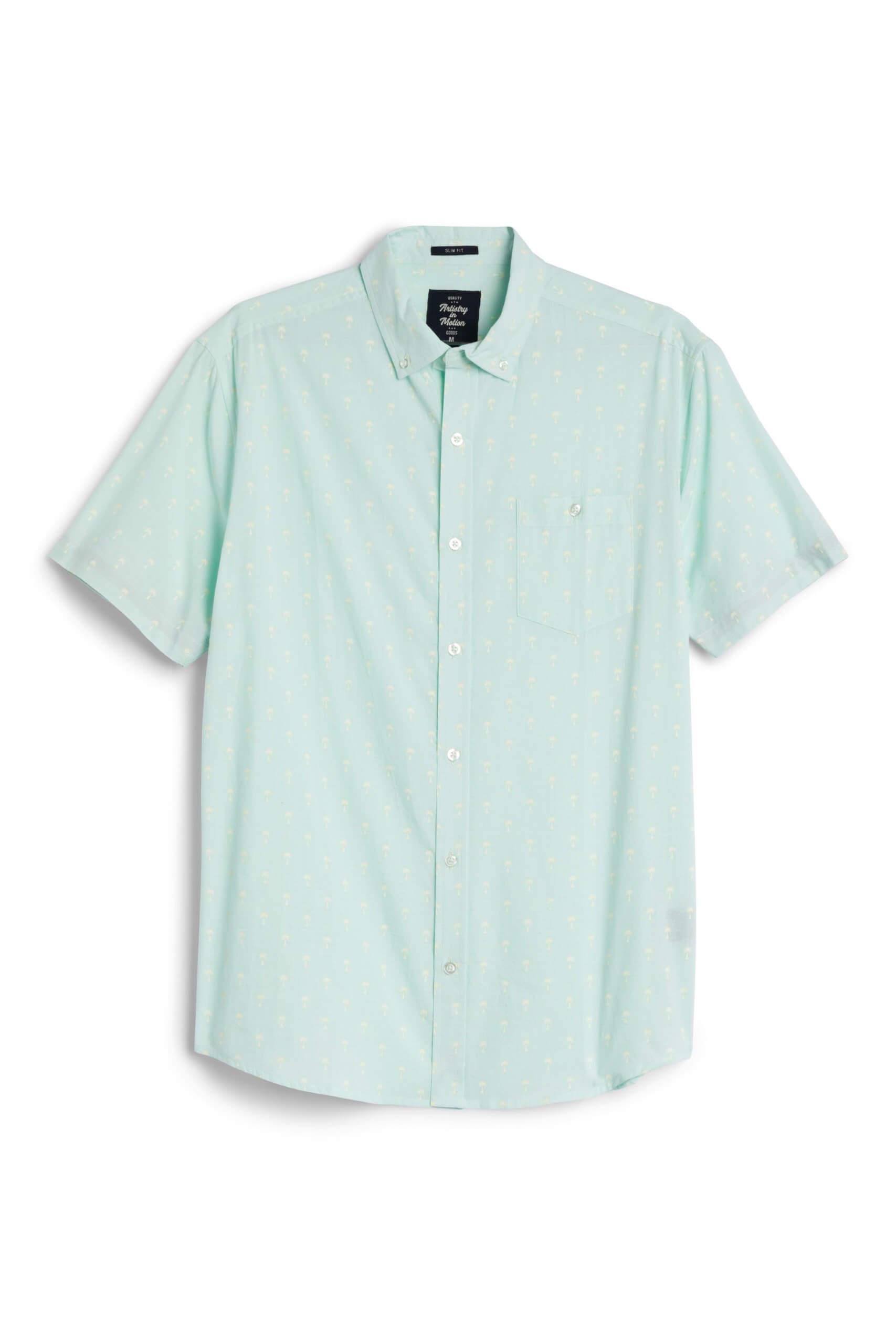 Stitch Fix Men's green short sleeve button-down shirt.