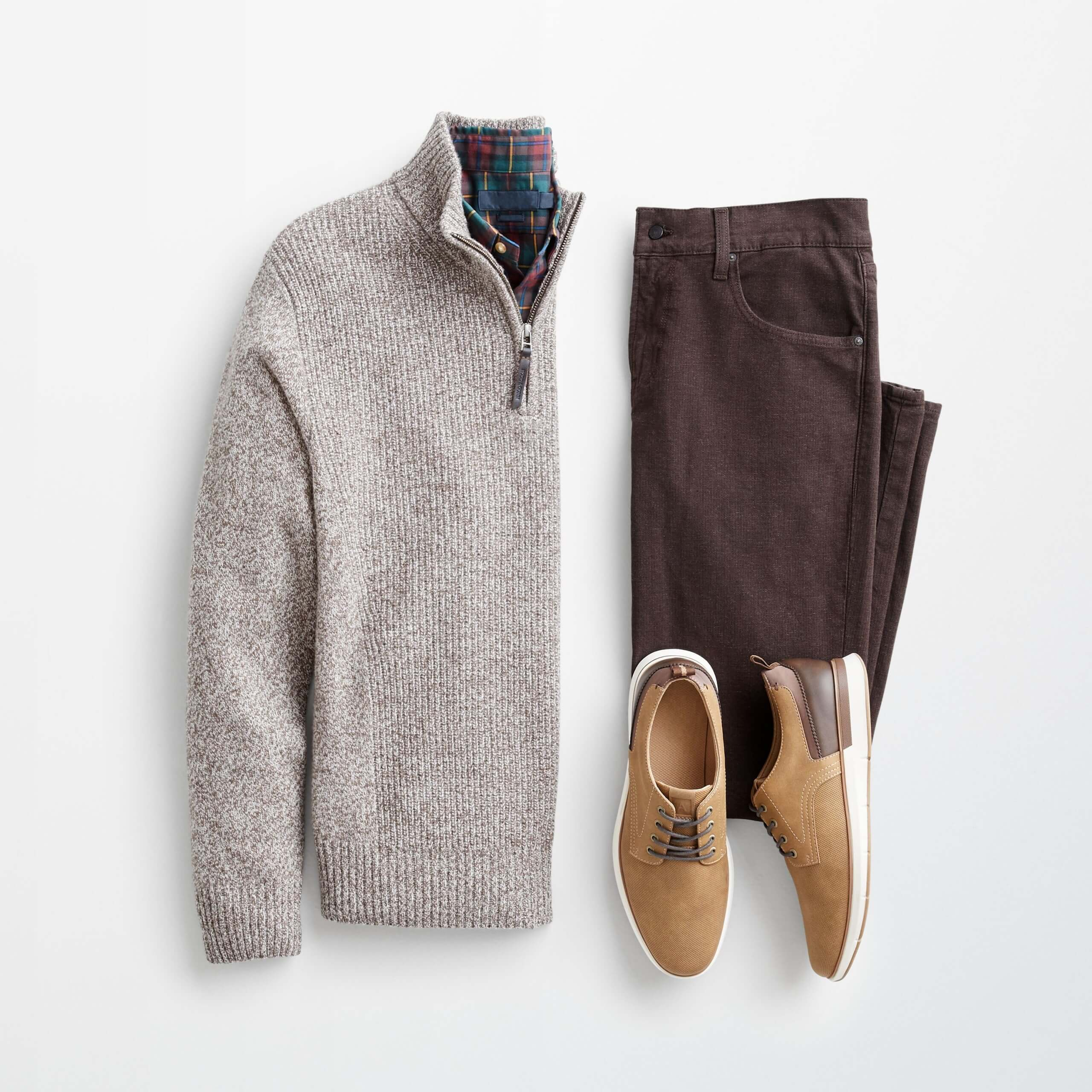 Stitch Fix Men's outfit laydown featuring tan sweater, brown pants  and tan derby shoes.