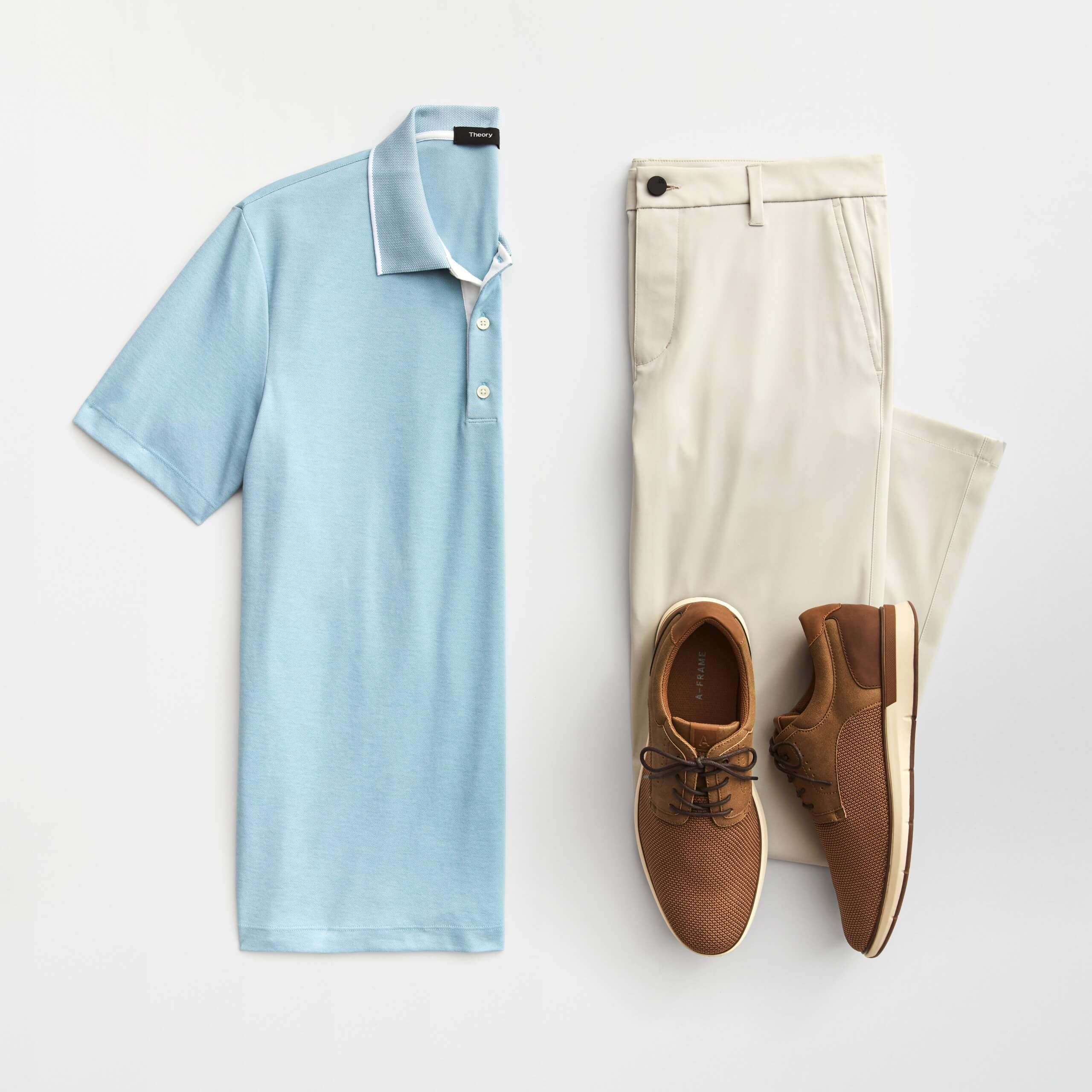 Stitch Fix Men's outfit laydown featuring light blue polo, cream golf pants and brown oxfords.
