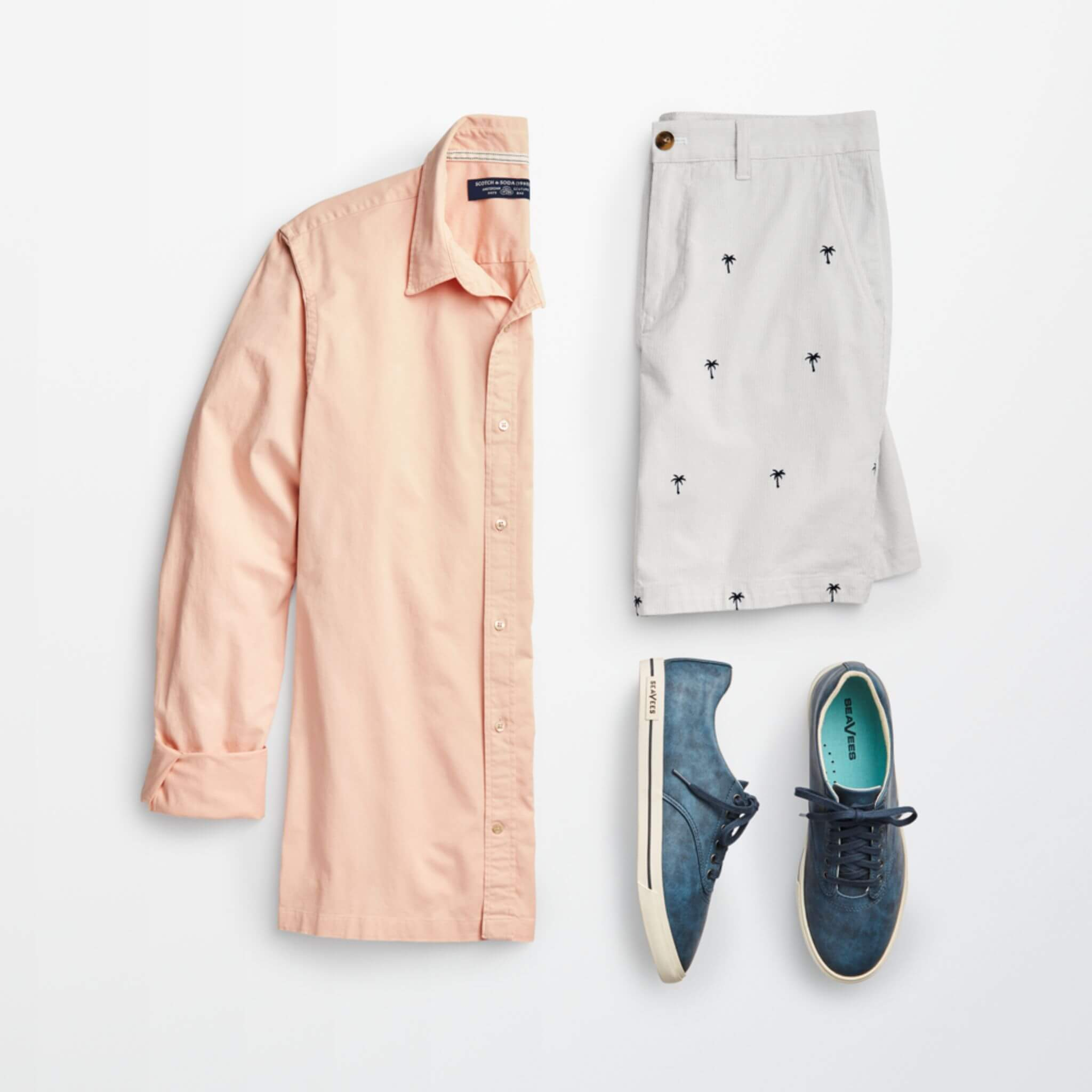 Stitch Fix Men's outfit laydown featuring peach button-up shirt, patterned shorts with small palm tree print and blue lace-up sneakers.