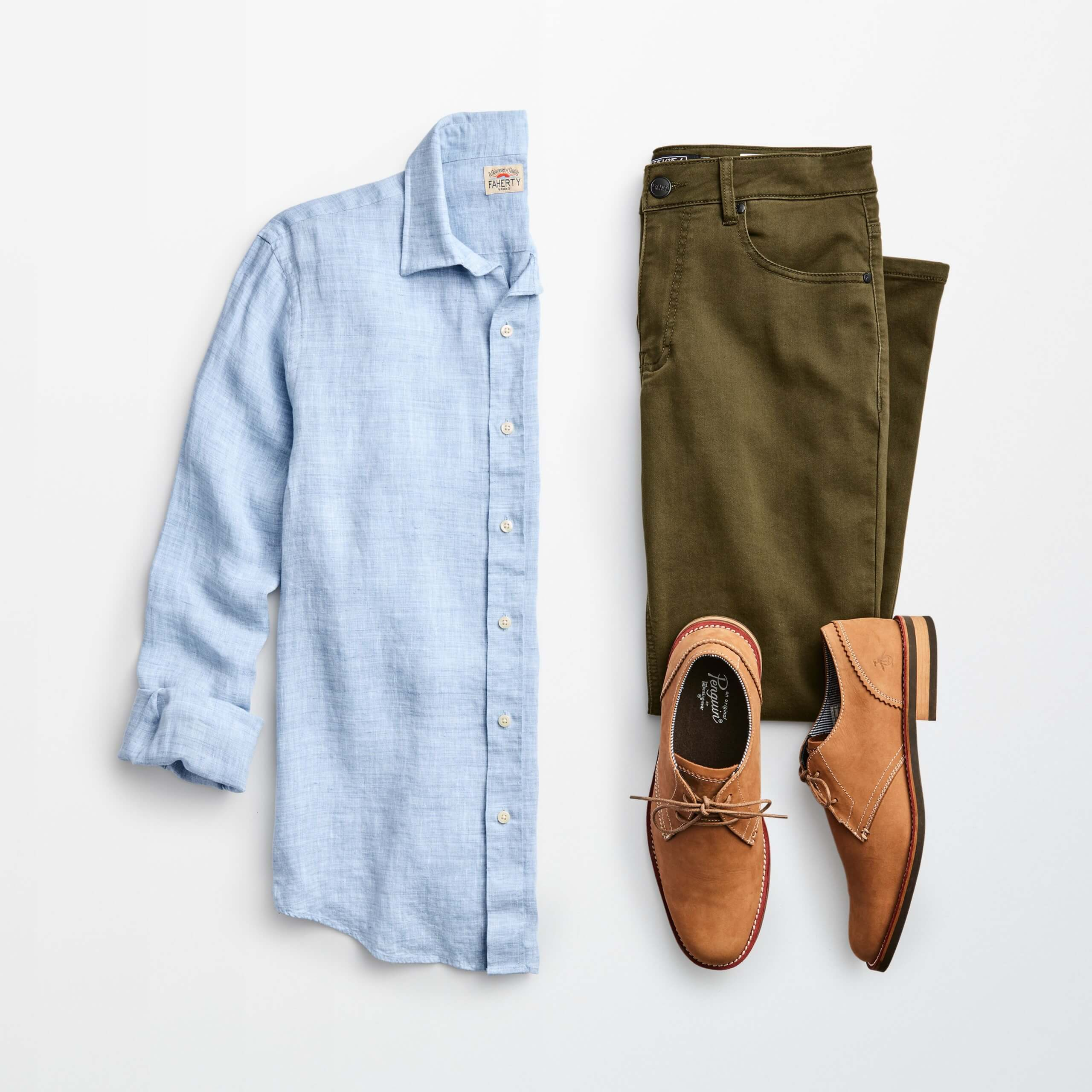Stitch Fix Men's outfit laydown featuring a light blue linen button-down shirt, olive-green jeans and tan Oxford dress shoes.