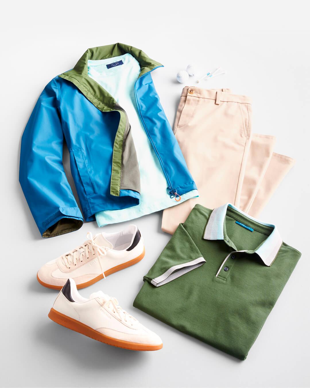 polo, chinos and rain jacket