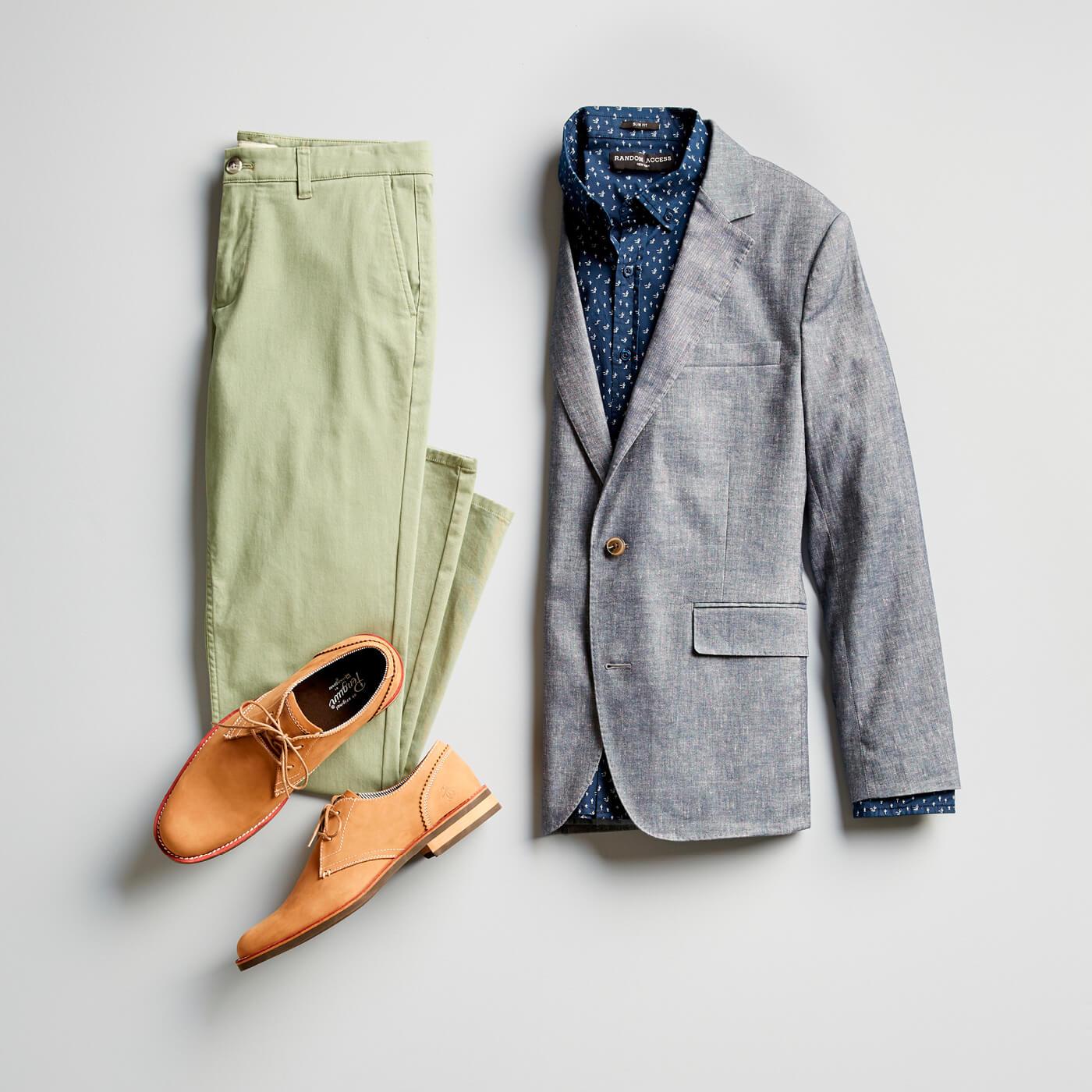 green chinos and grey blazer