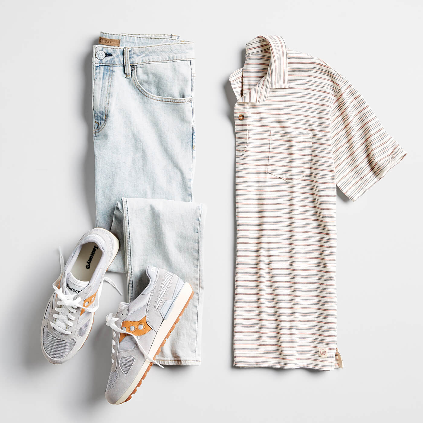 striped polo and jeans