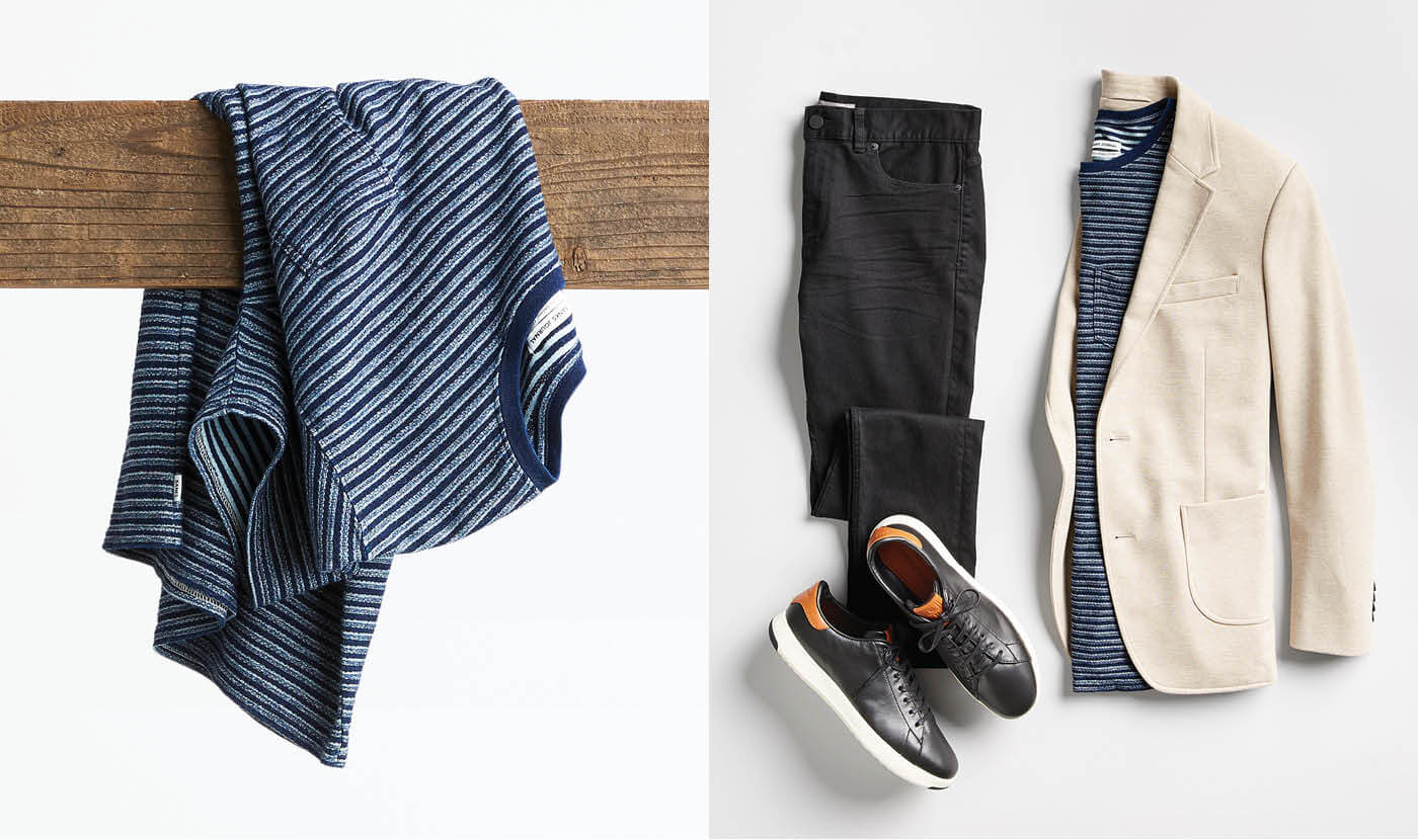 men's striped shirt with blazer and sneakers
