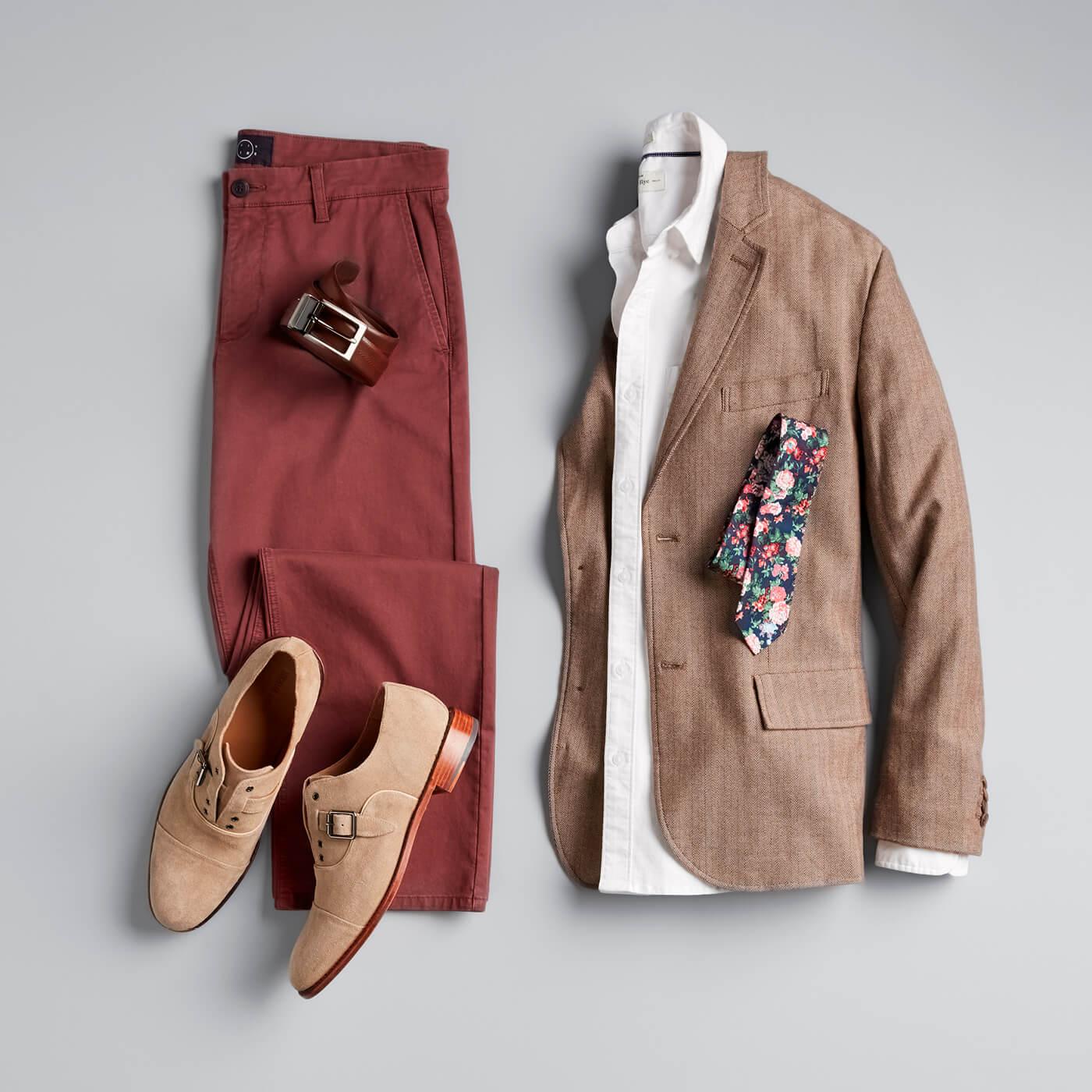 floral print tie, brown blazer, maroon pants