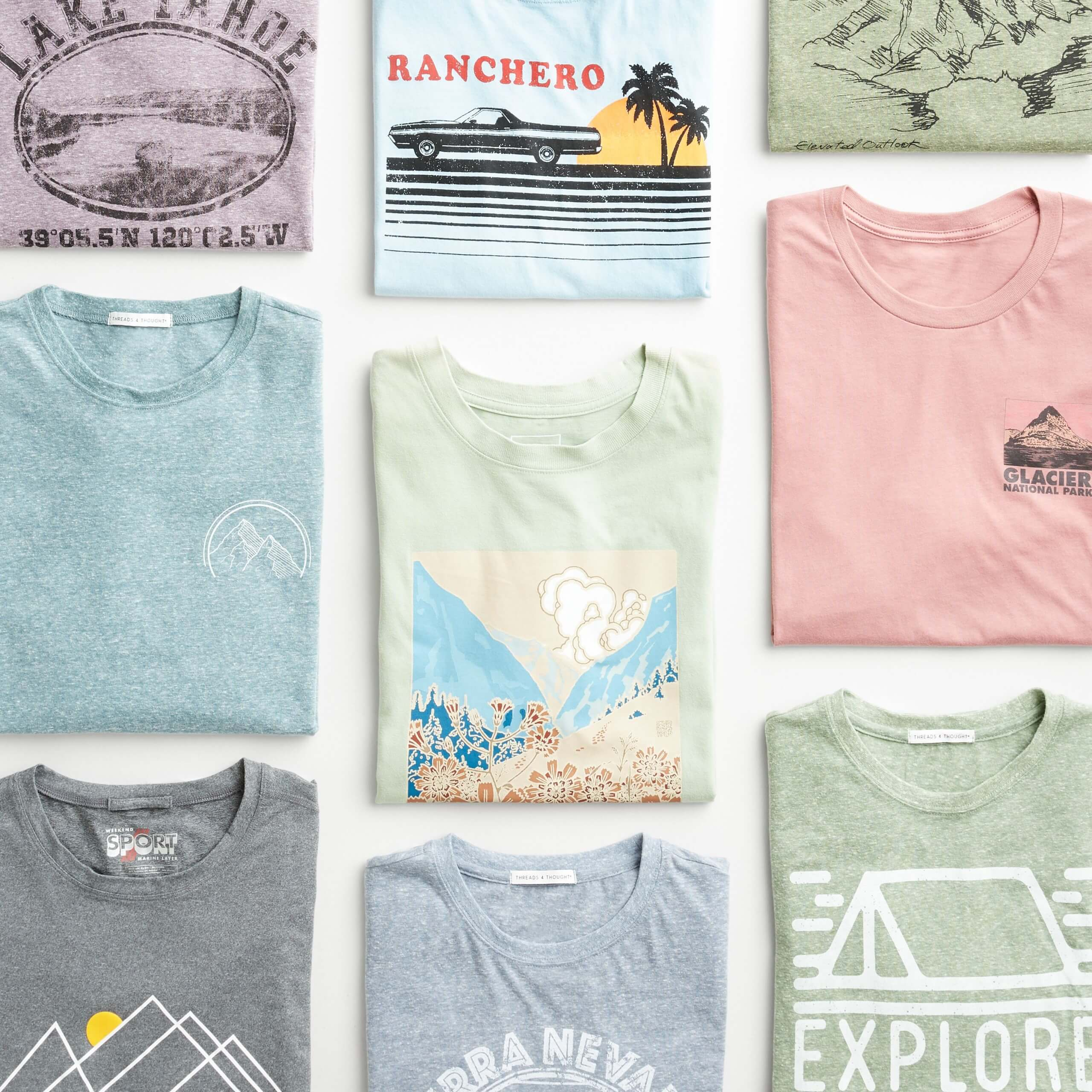 Stitch Fix Men's outfit laydown featuring graphic t-shirts in light purple, light green, light pink and light blue styles.