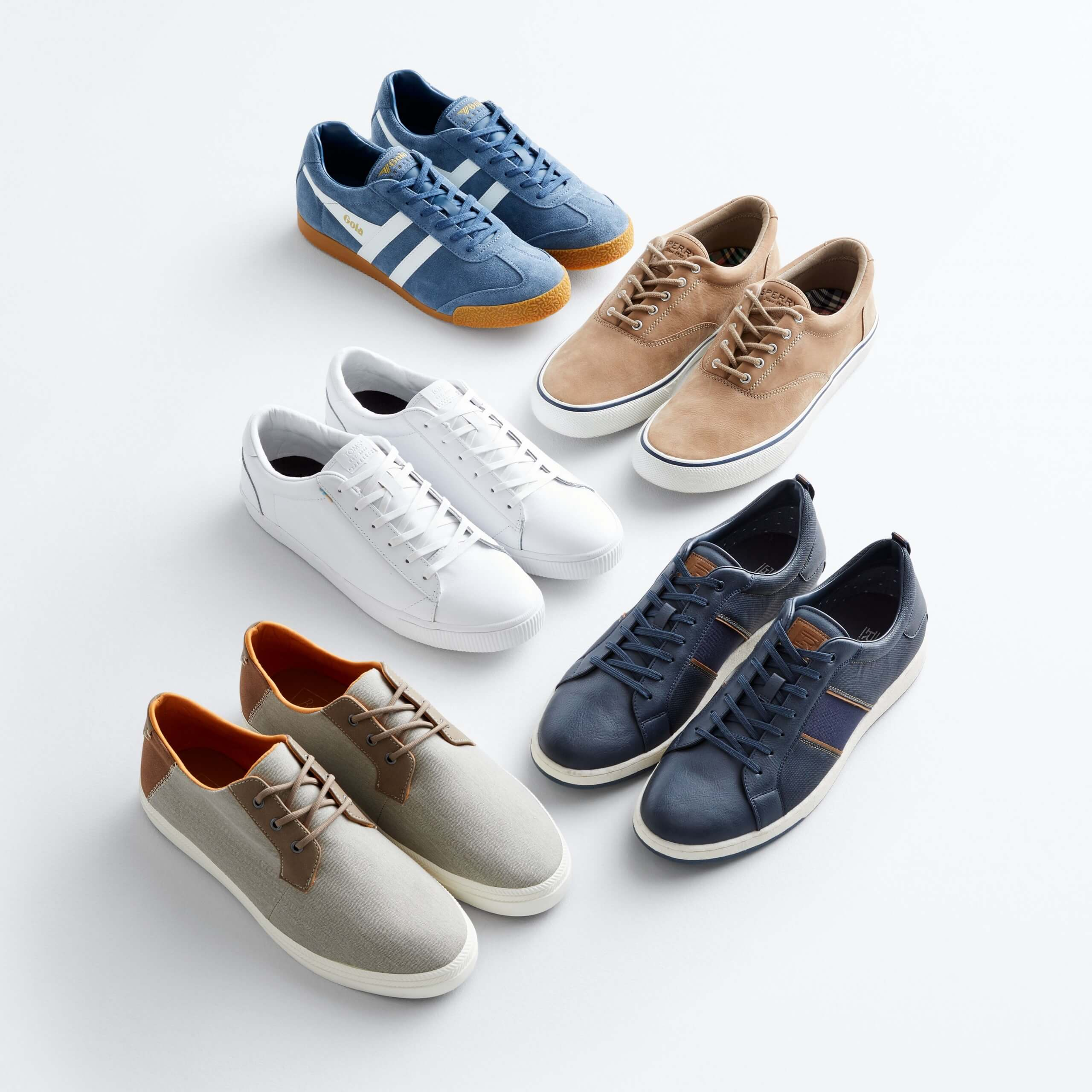 Stitch Fix Men's outfit laydown featuring sneakers in blue, tan, white, navy and grey.