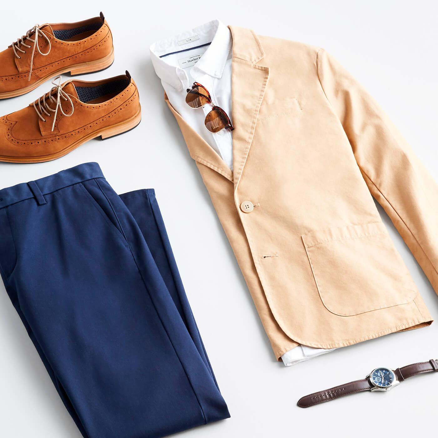 men's white oxford shirt with navy pants and khaki blazer