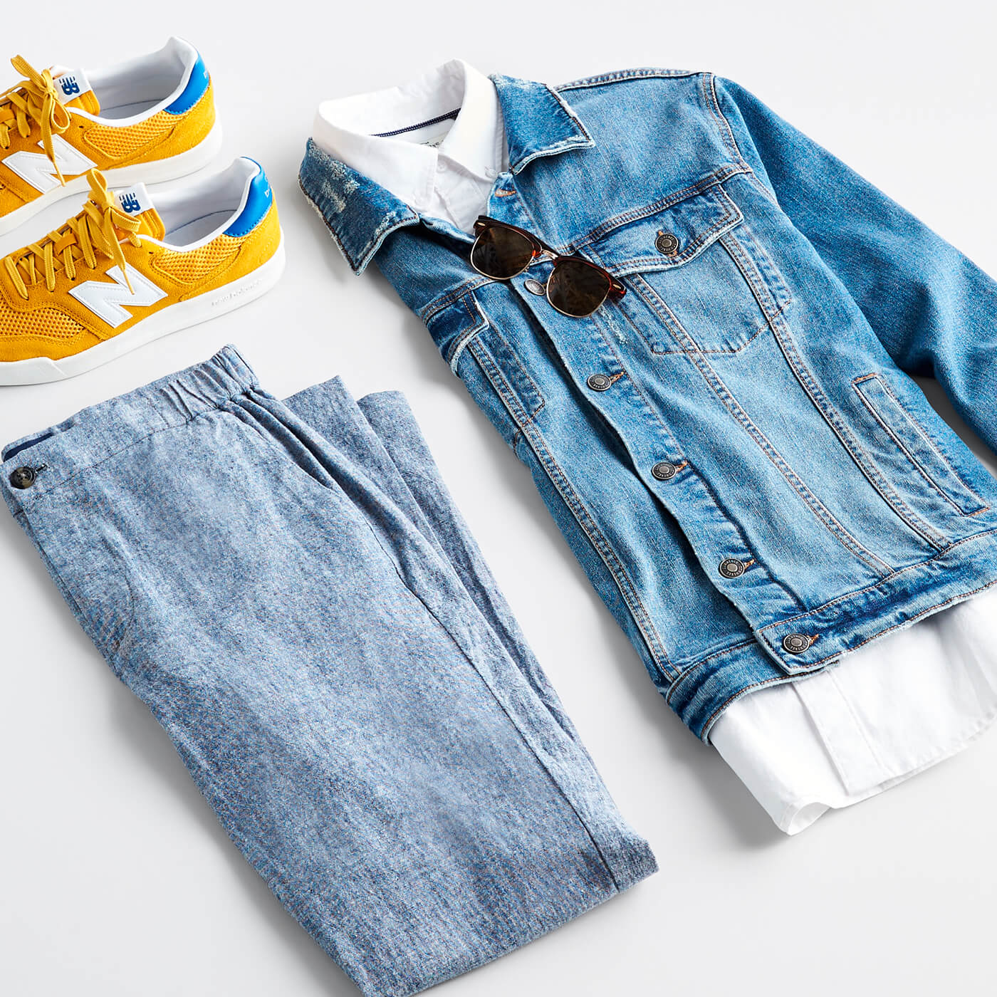 white oxford shirt with jean jacket