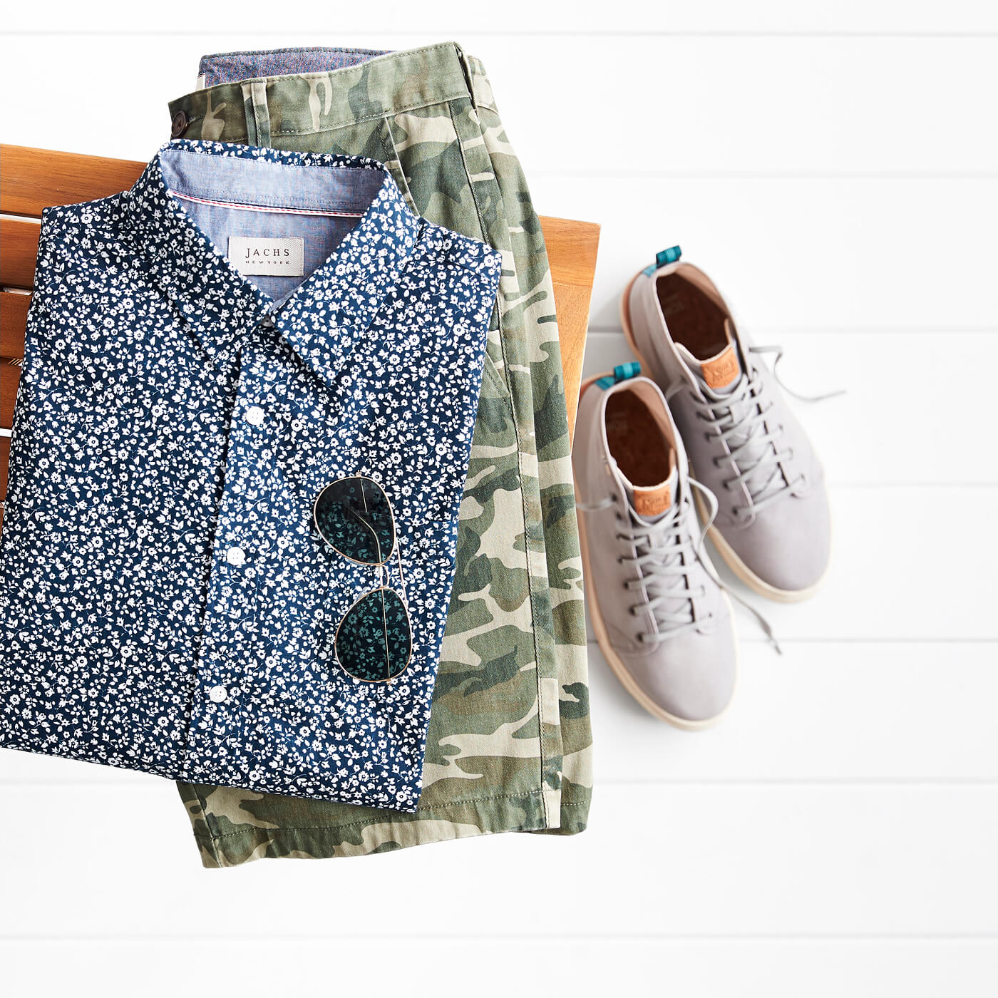 men's micro print floral shirt and camo pants