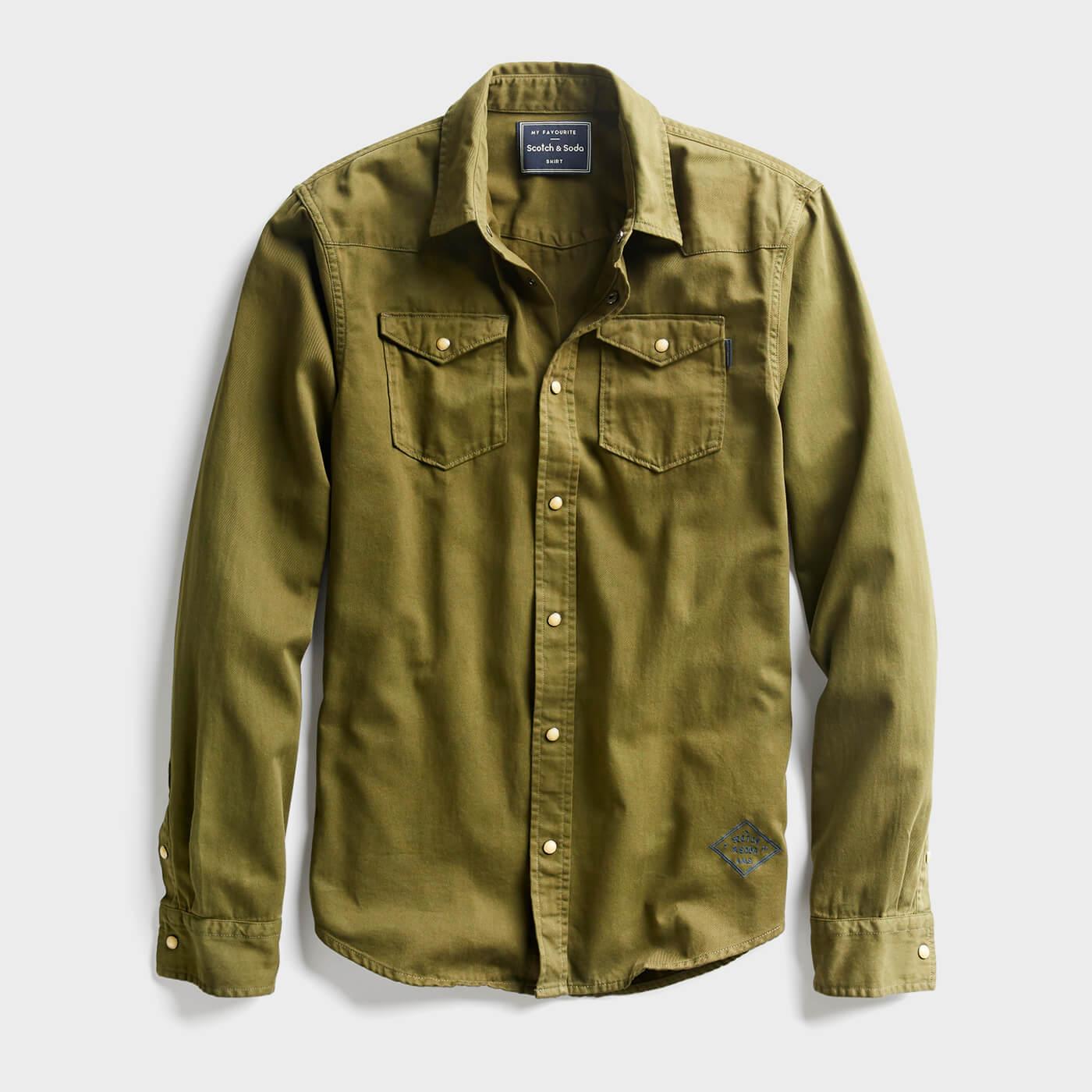 olive green work shirt