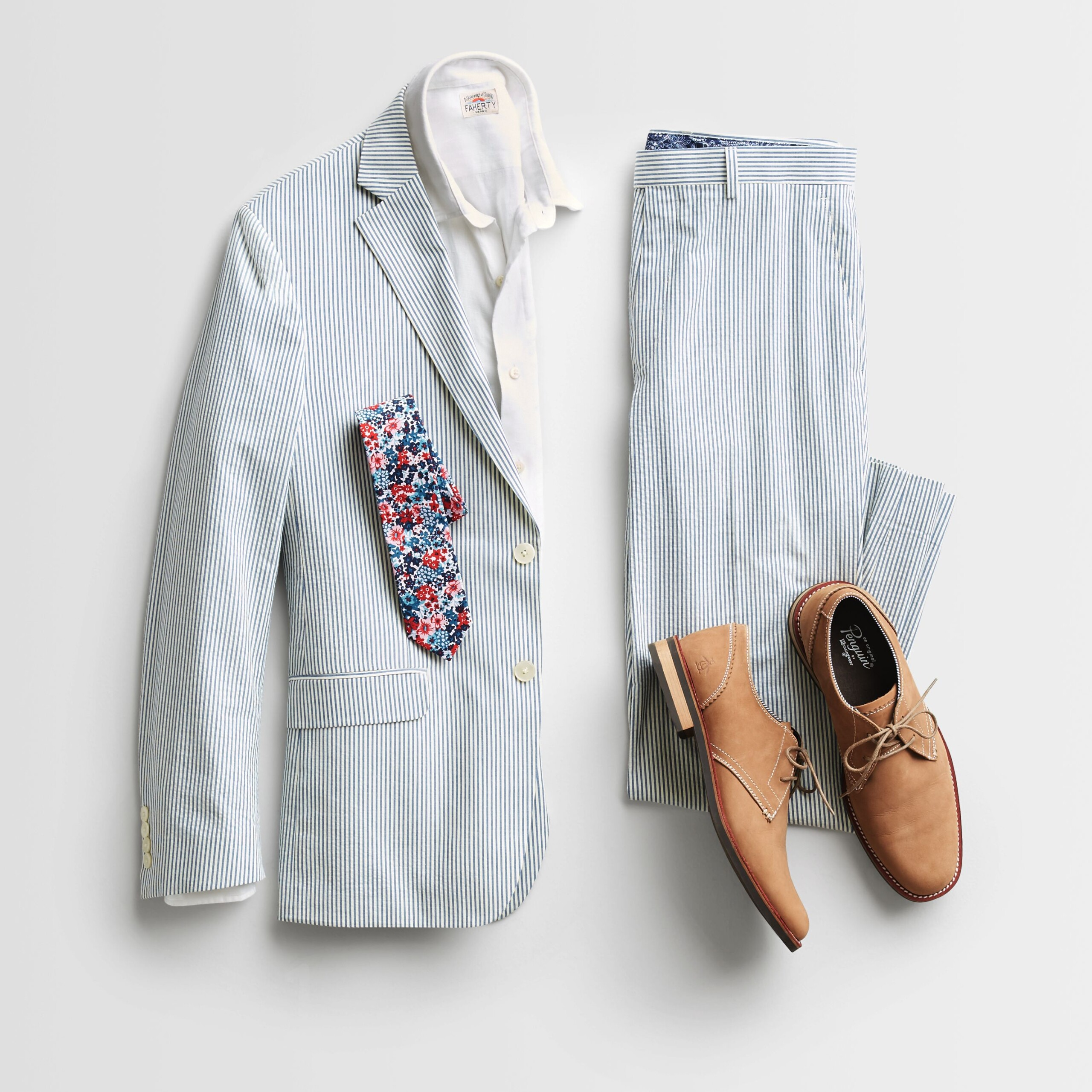 Stitch Fix Men's microfloral tie accessorizes a seersucker suit, white button-down dress shirt.