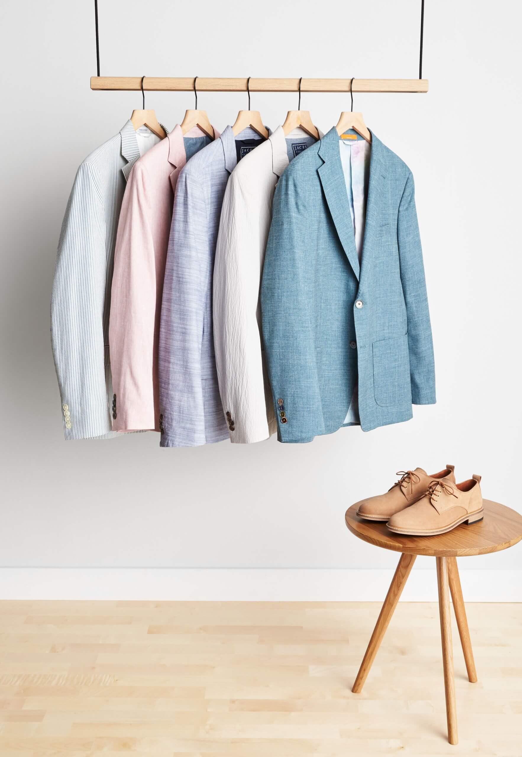 Stitch Fix Men's Wedding blazers in seersucker print, light pink, light purple, grey, blue and featuring a a pair of beige brogues.