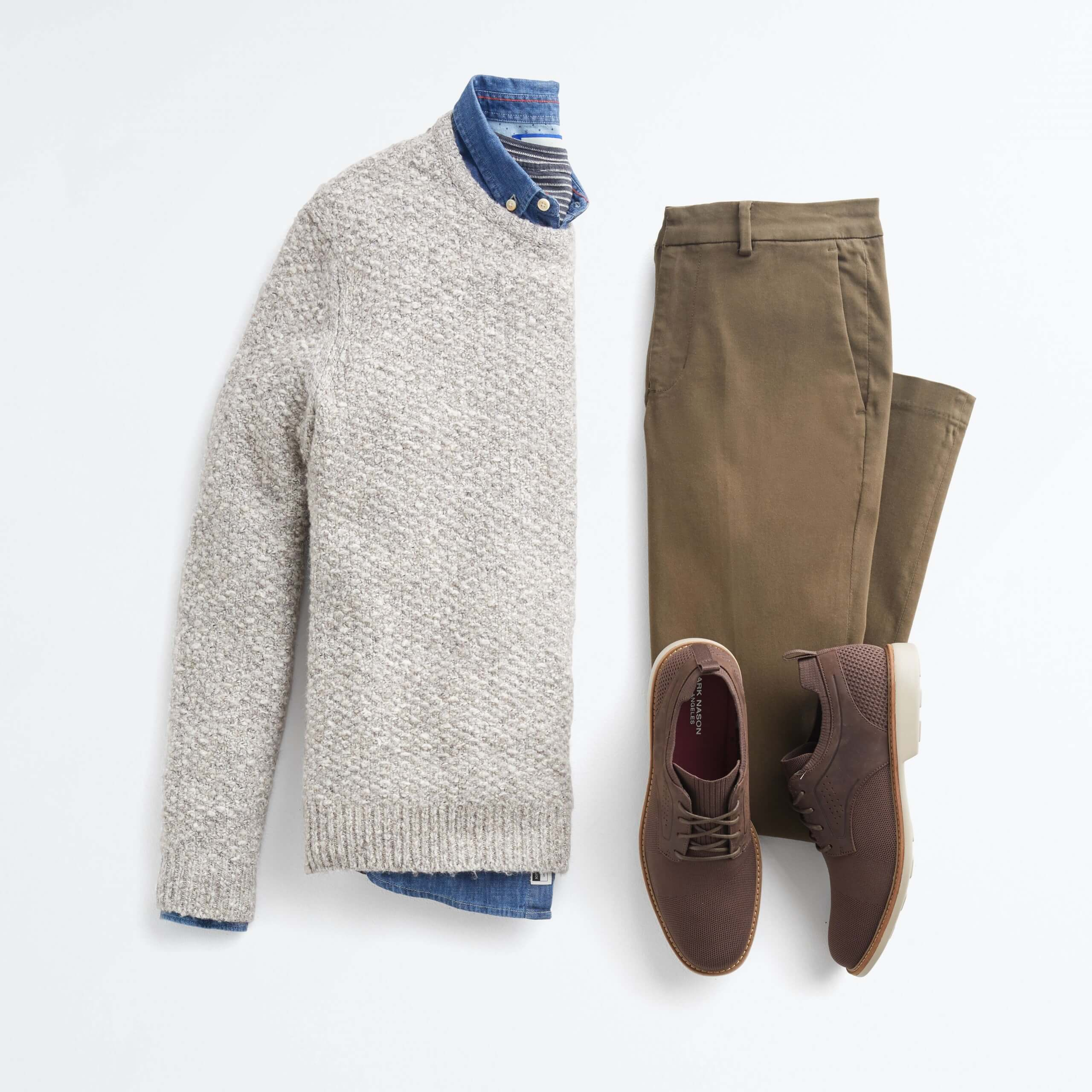 Stitch Fix Men's outfit laydown featuring beige sweater over blue collared-shirt, brown pants and brown shoes.