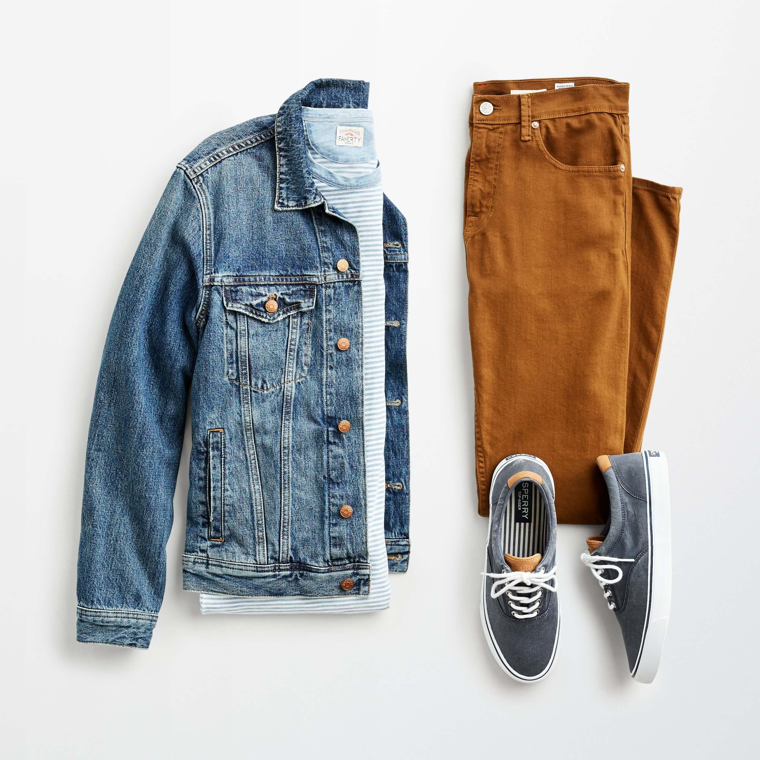 Stitch Fix jean jacket men's outfit laydown with blue jean jacket, light blue striped T-shirt, brown jeans and navy lace-up canvas sneakers.