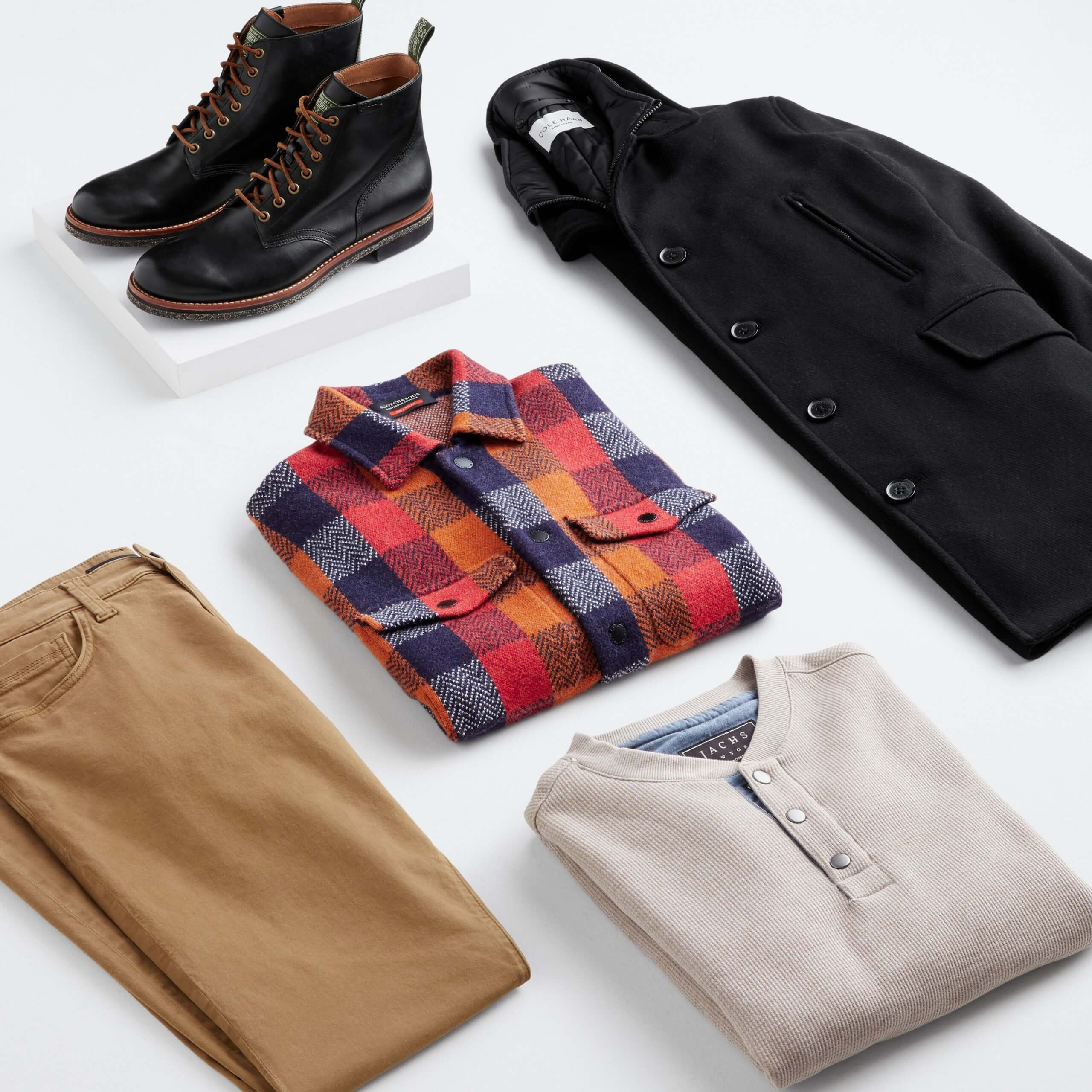 Stitch Fix men's fall fashion 2021 outfit with brown pants, multi-color buffalo check flannel shirt, beige henley, black wool coat and black lace-up boots.