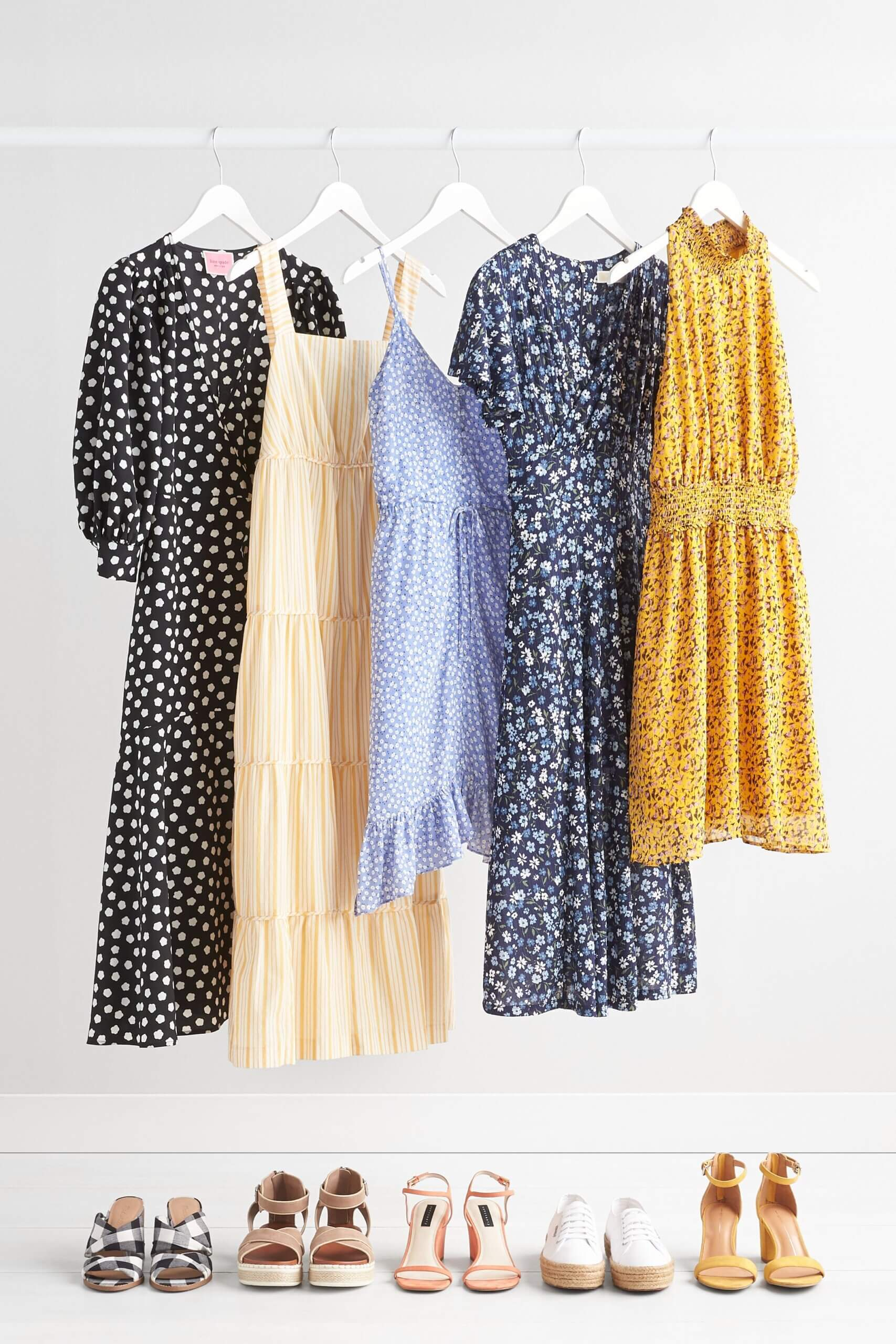 Stitch Fix Women's Easter outfits featuring black dot midi dress, yellow striped tiered dress, ditsy floral dress, microfloral mini dresses and five pairs of shoes.
