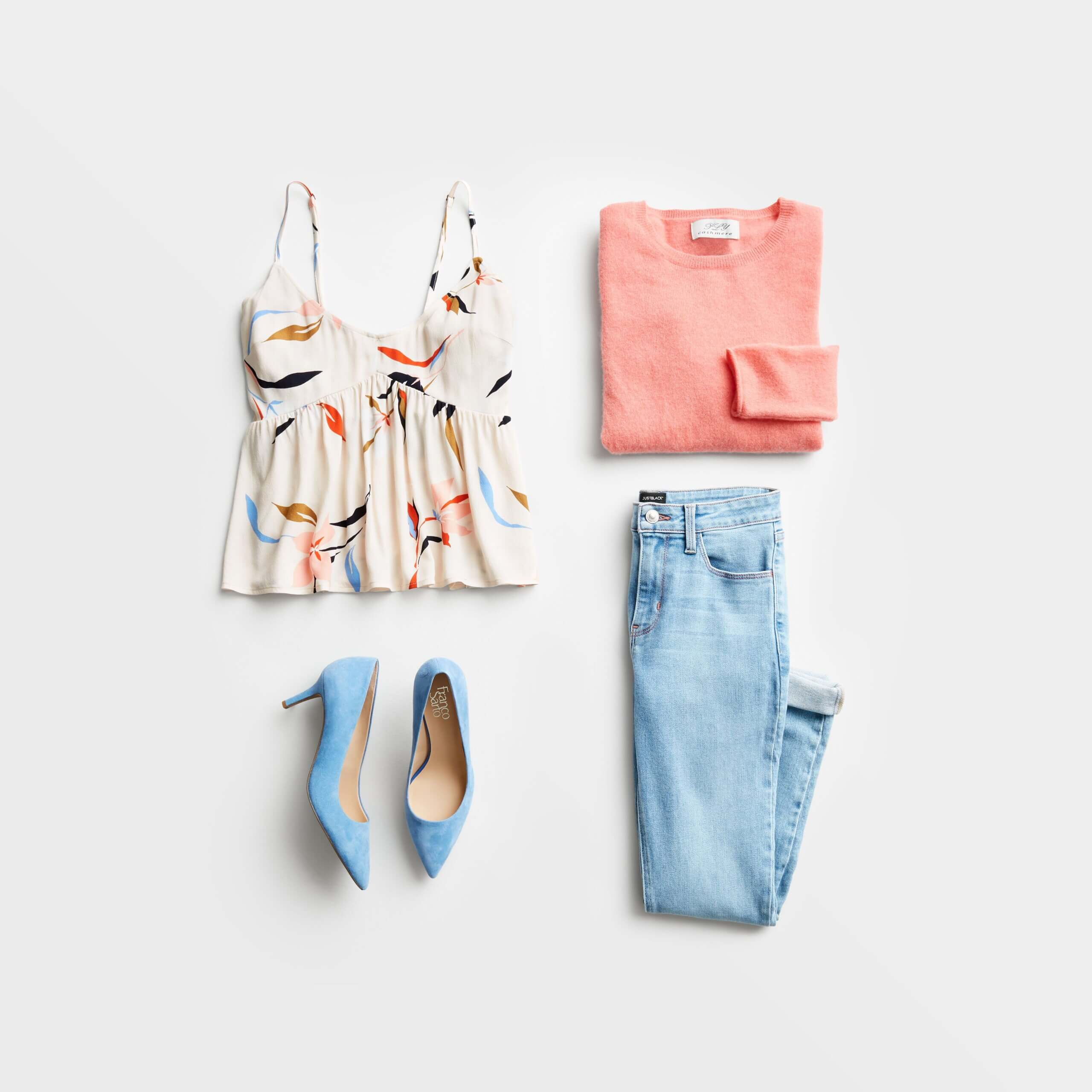 Stitch Fix Women's date night at home featuring blue jeans, white patterned tank, peach sweater and light blue heels.