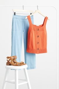 Stitch Fix women's cropped wide-leg jeans with orange button front tank top and brown sandals.