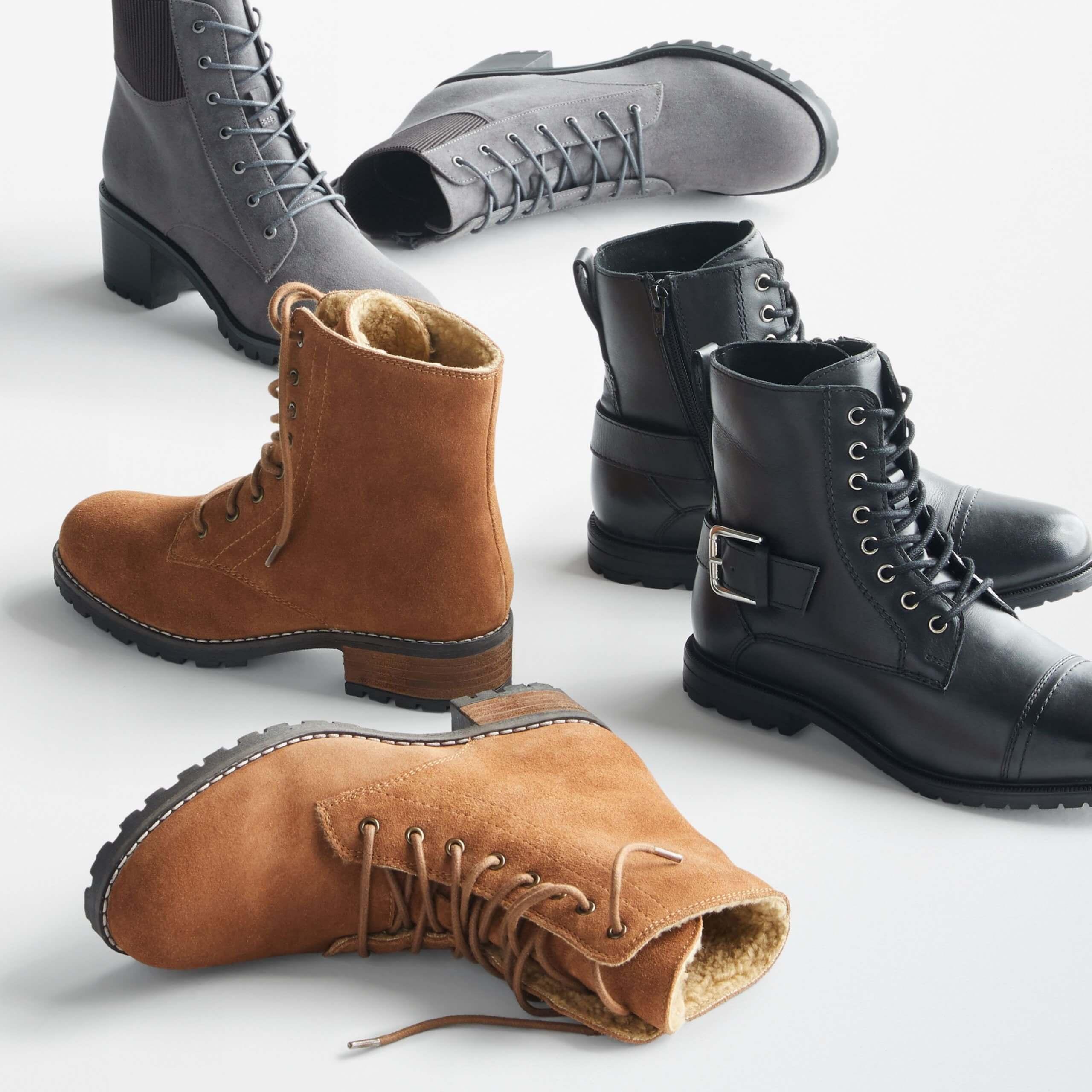 Stitch Fix Women's booties in dark grey, combat booties in brown and black.