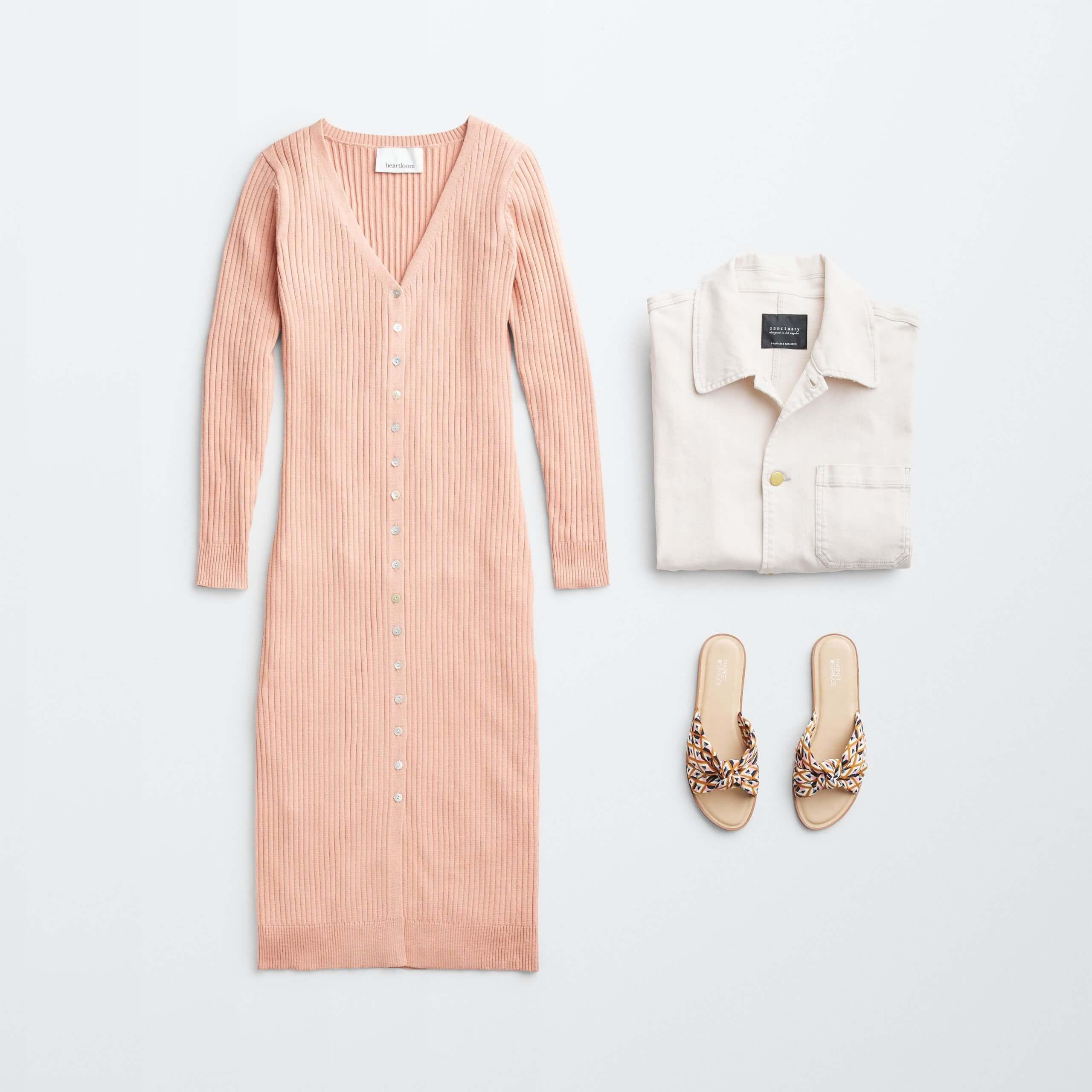 Stitch Fix Women's outfit laydown featuring a blush pink knit midi dress, cream utility jacket and knotted slide sandals with brown animal print.