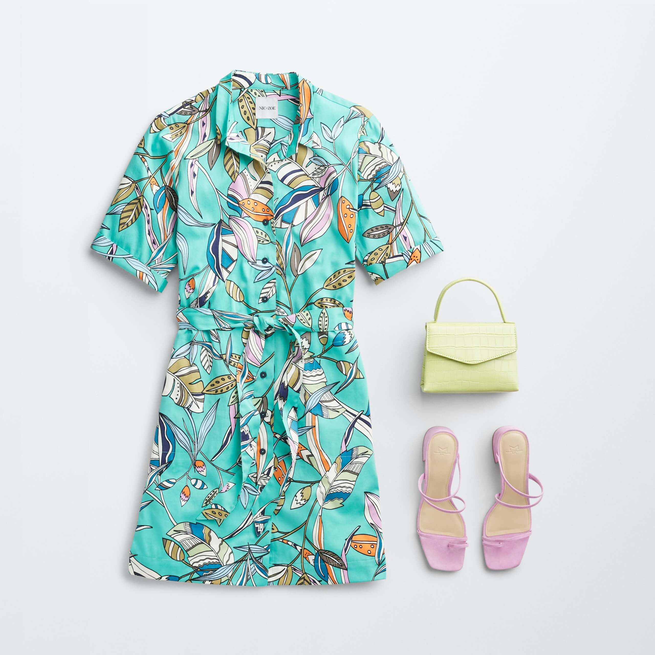 Stitch Fix Women's outfit laydown featuring a teal tropical print dress next to lime-green crossbody bag and pink heeled sandals.