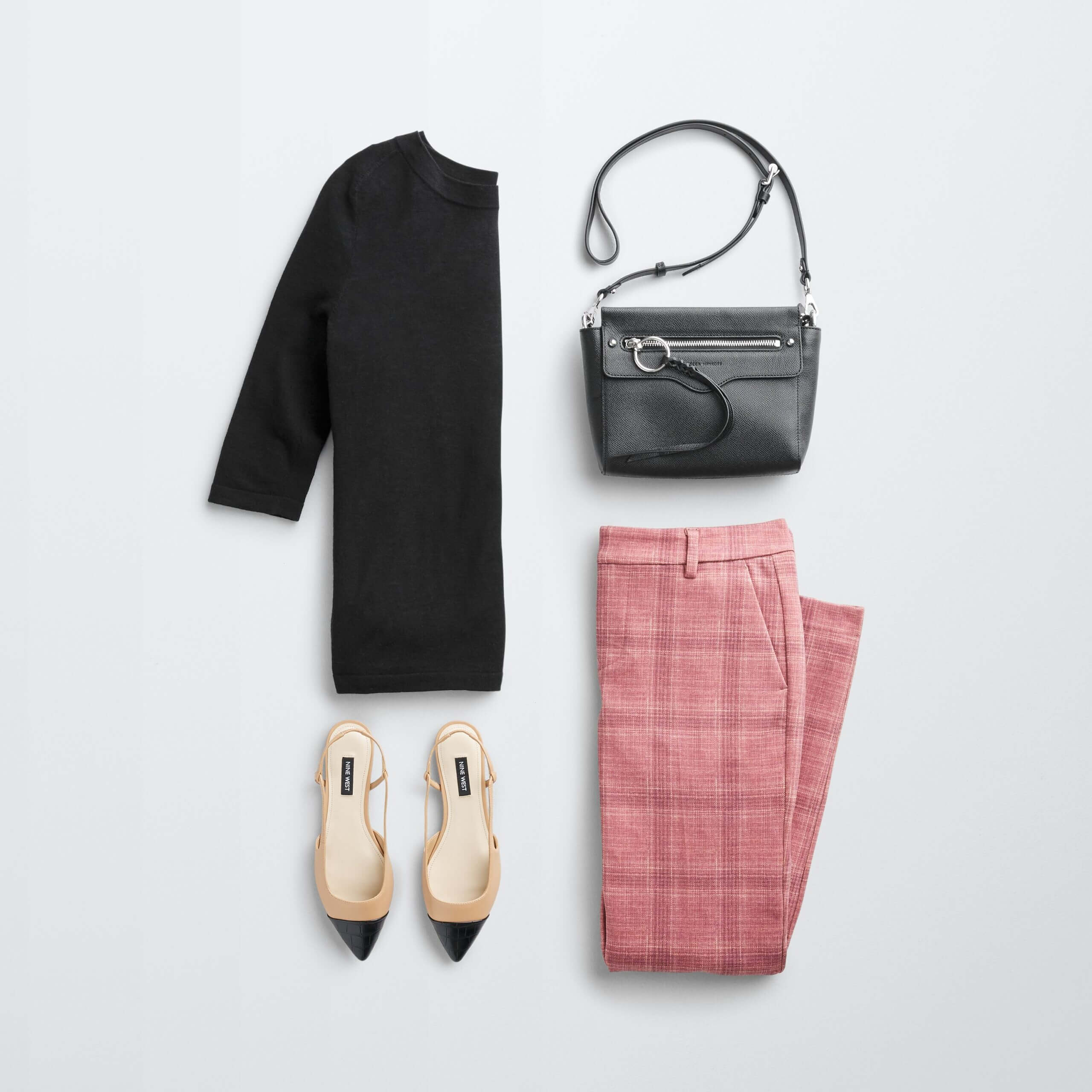 Stitch Fix Women's outfit laydown featuring pink windowpane patterned pants, black tunic, slingbacks and black bag.