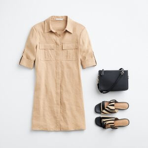 Stitch Fix women's outfit laydown featuring khaki shirt dress, black crossbody bag and black and tan zebra print sandals.