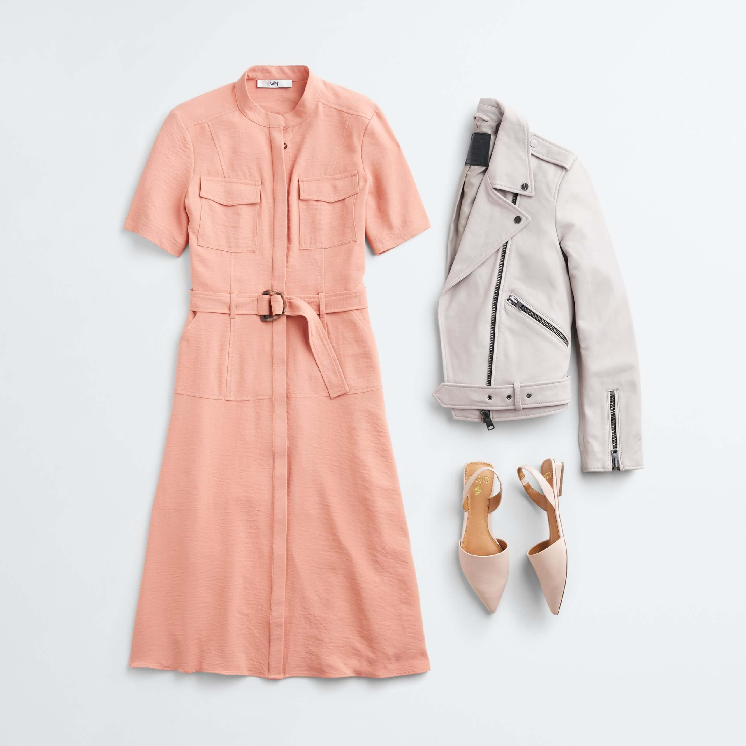 Stitch Fix Women's outfit laydown featuring pink tie-waist shirt dress, beige leather biker jacket and beige flats.