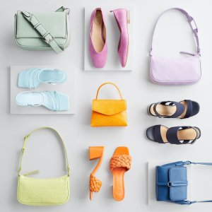 Stitch Fix women's accessories laydown featuring green, purple, yellow, orange and blue shoes and accessories.