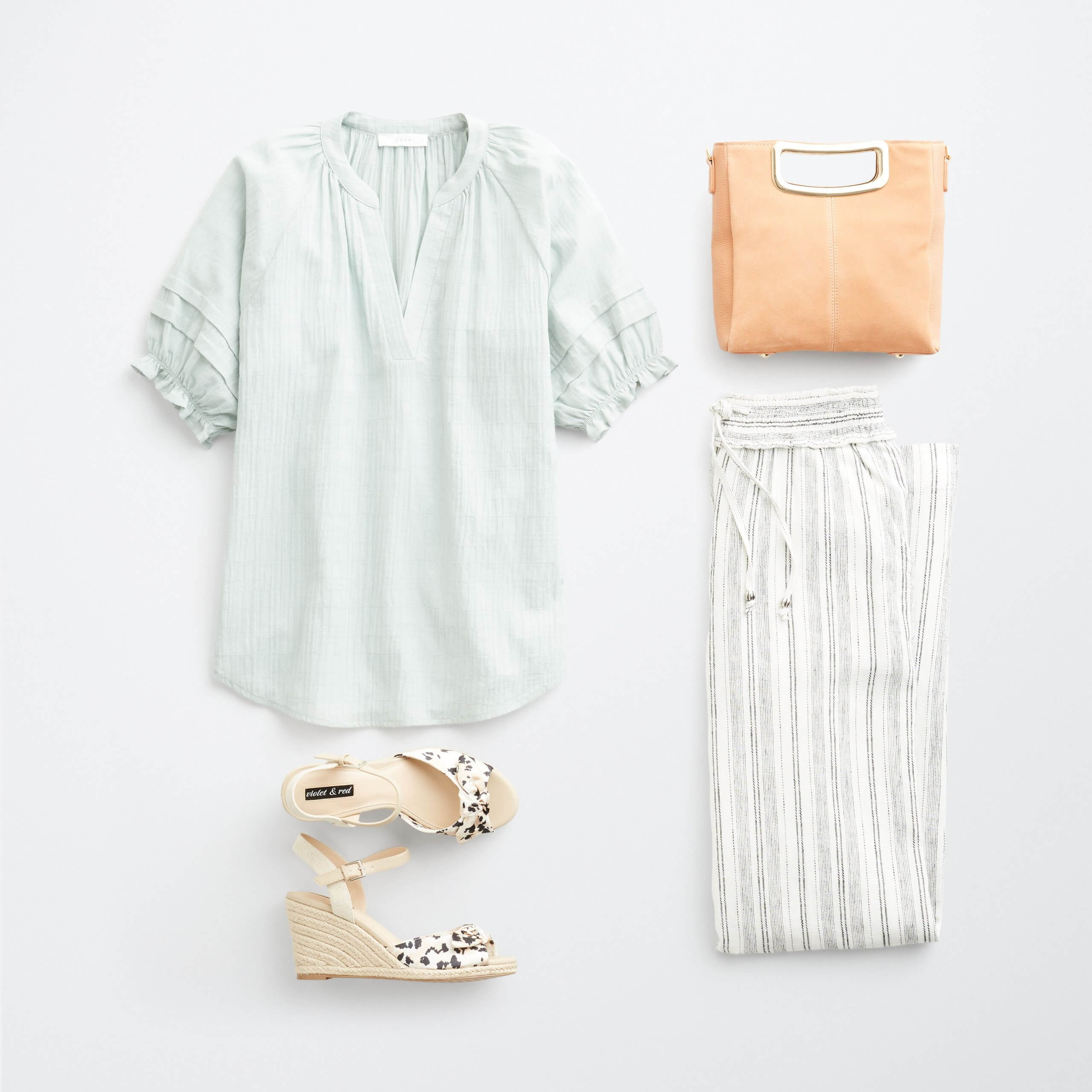 Stitch Fix Women's outfit laydown featuring mint green ruffle sleeve top, white striped wide-leg pants, tan animal print wedges, brown bag.