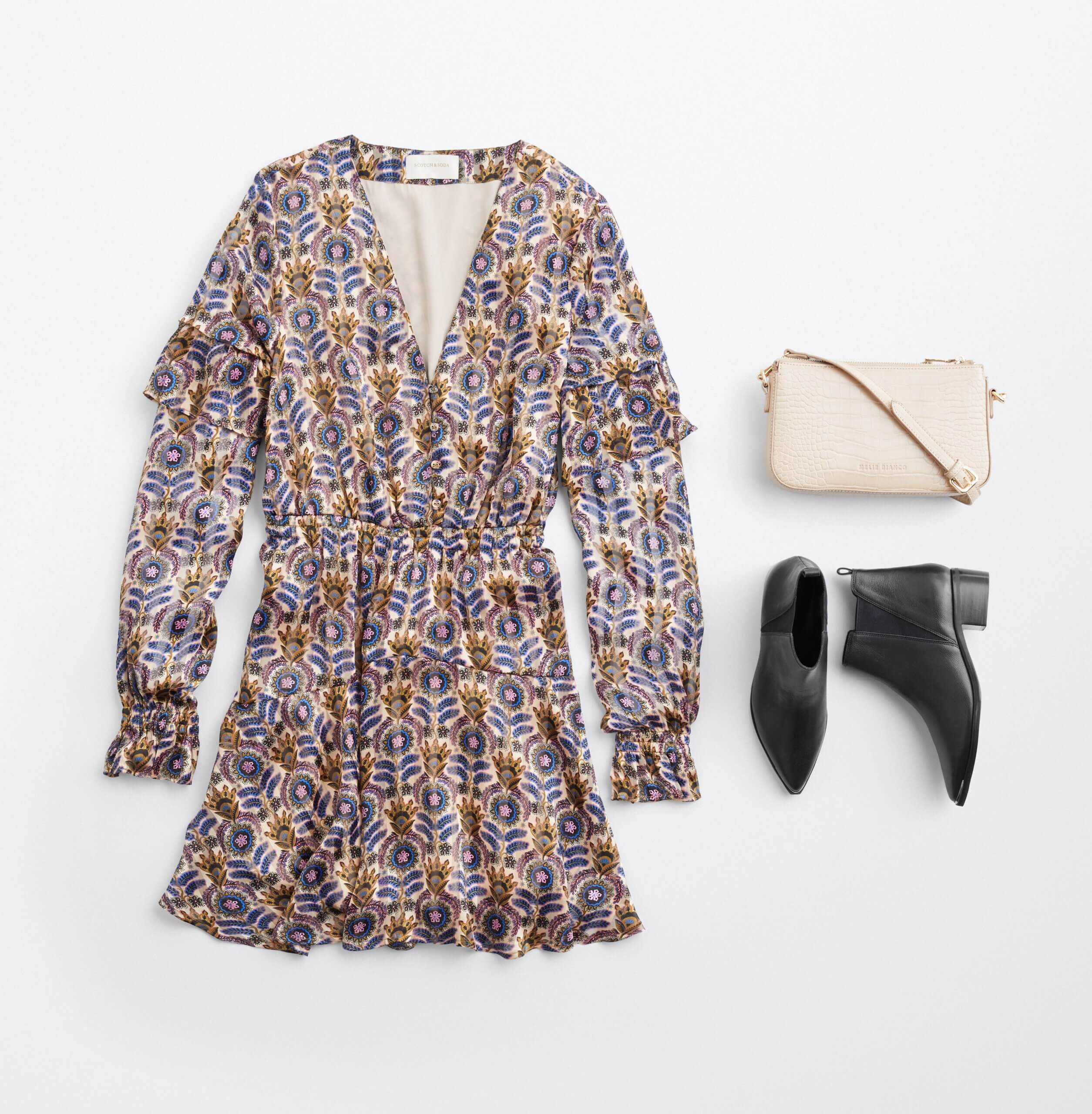 Stitch Fix Women's outfit laydown featuring beige, brown, blue and pink boho-print dress, cream crossbody purse and black leather booties.