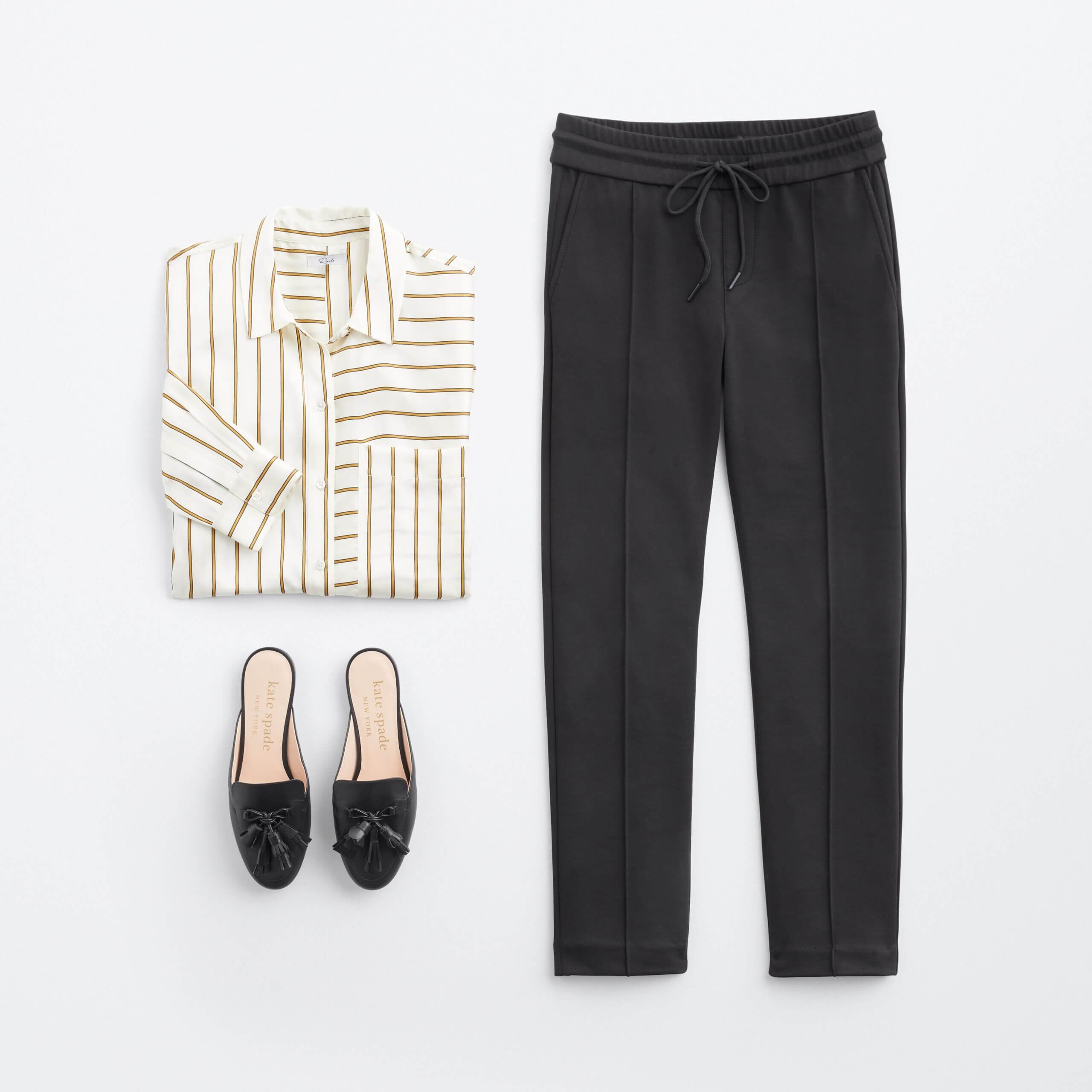 Stitch Fix Women's outfit laydown featuring white silk button-down blouse with gold striped, black ankle-length trousers and black leather flats.