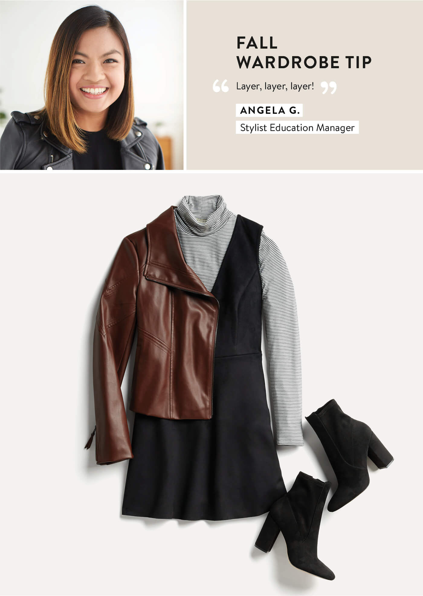 Stitch Fix Stylist Angela, moto jacket, turtleneck layered under dress