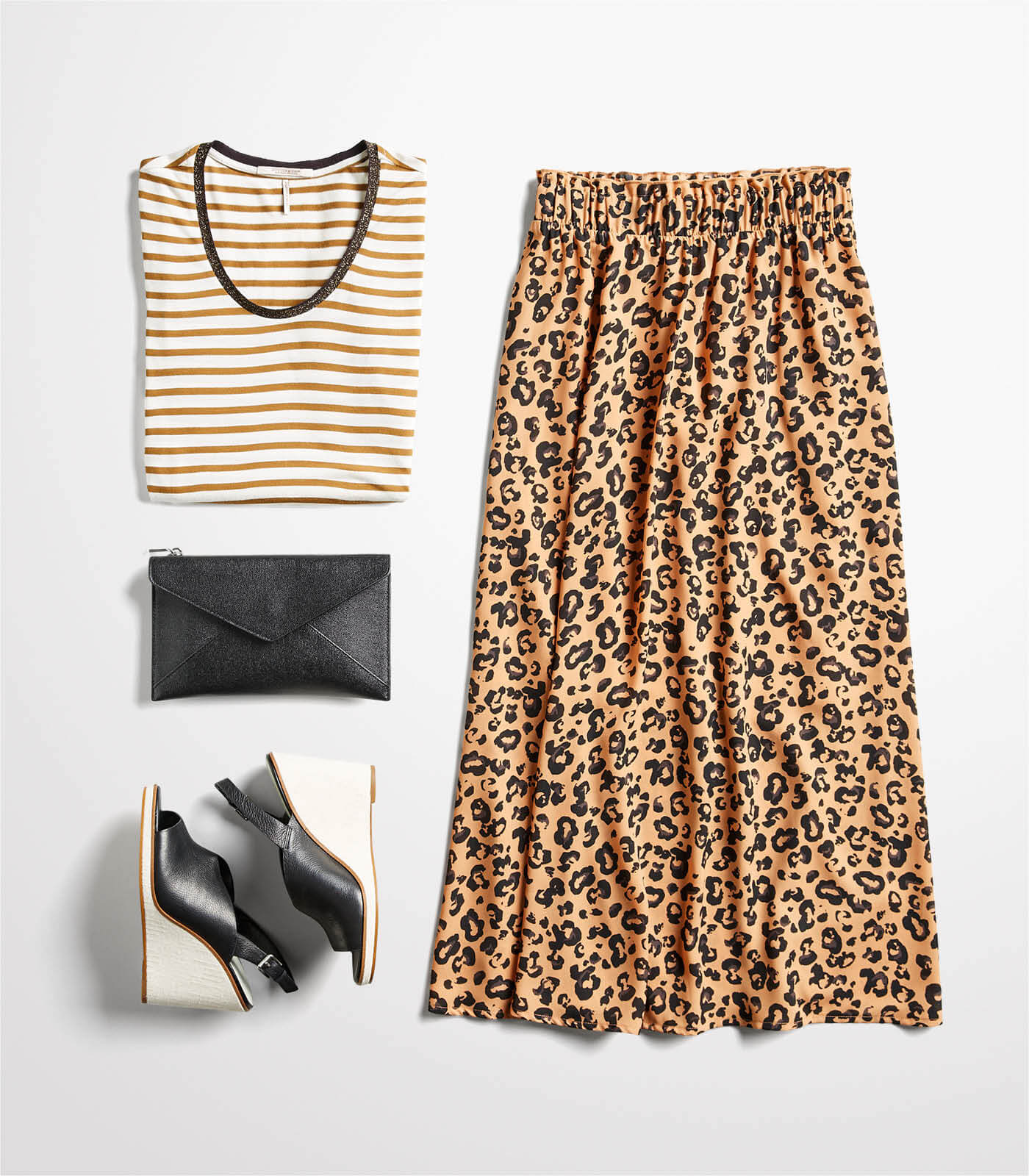 leopard maxi skirt with striped shirt