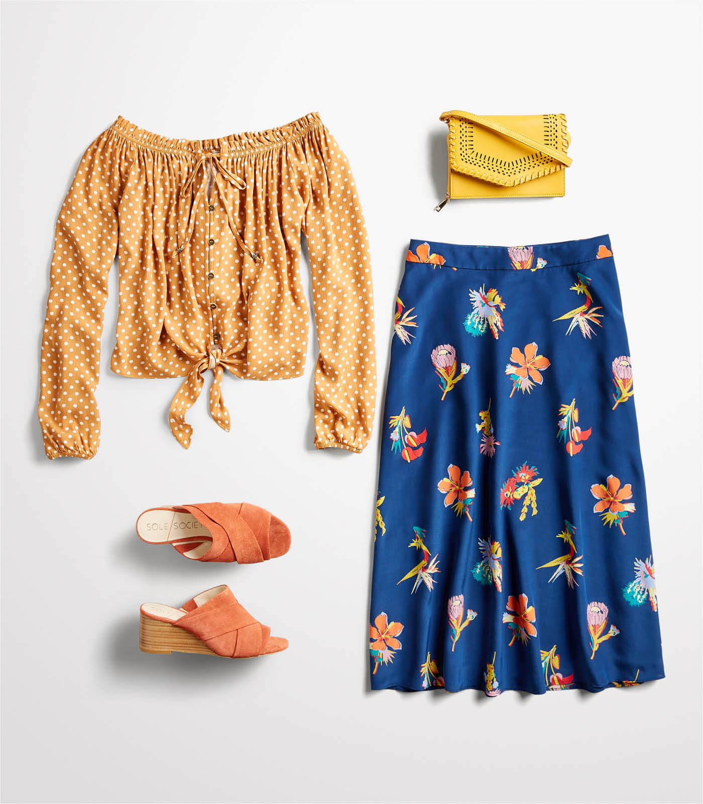 off the shoulder top and midi skirt