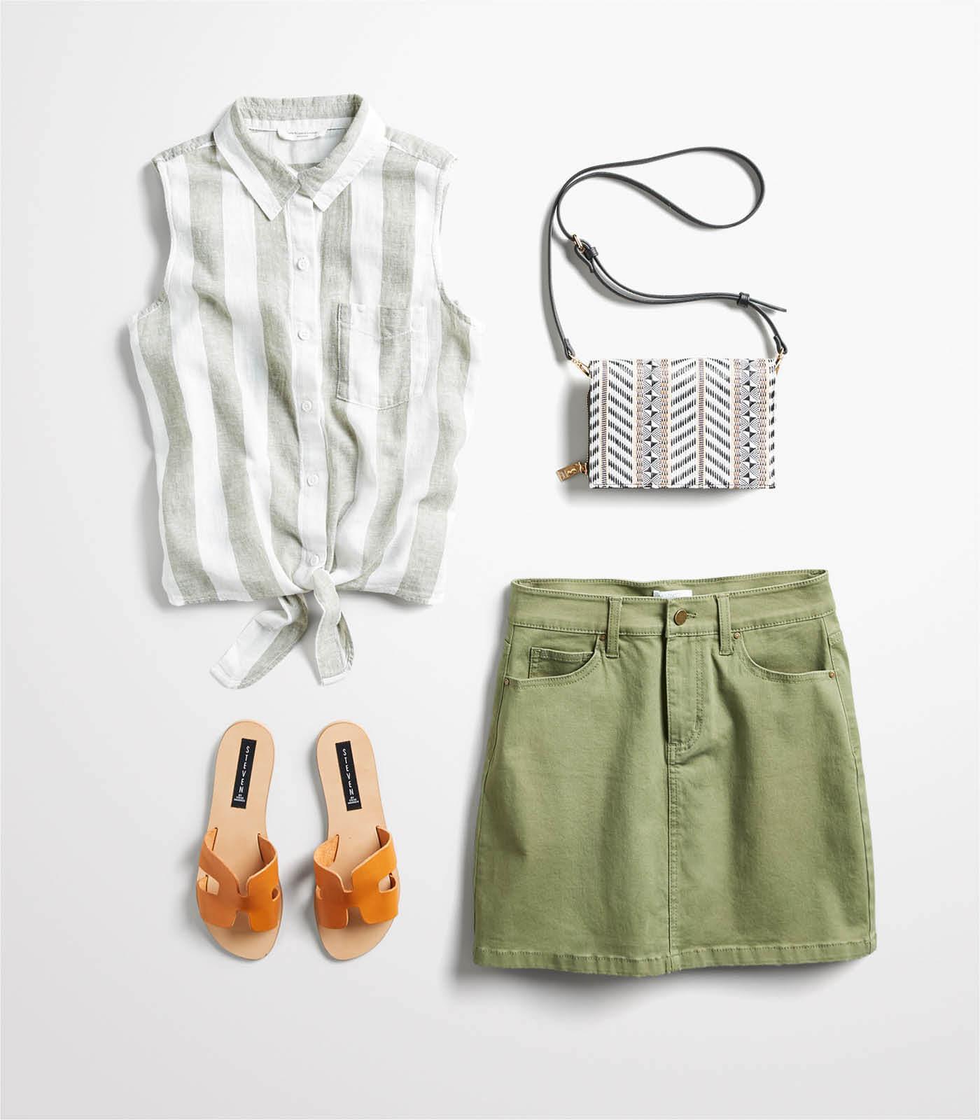 denim mini skirt outfit