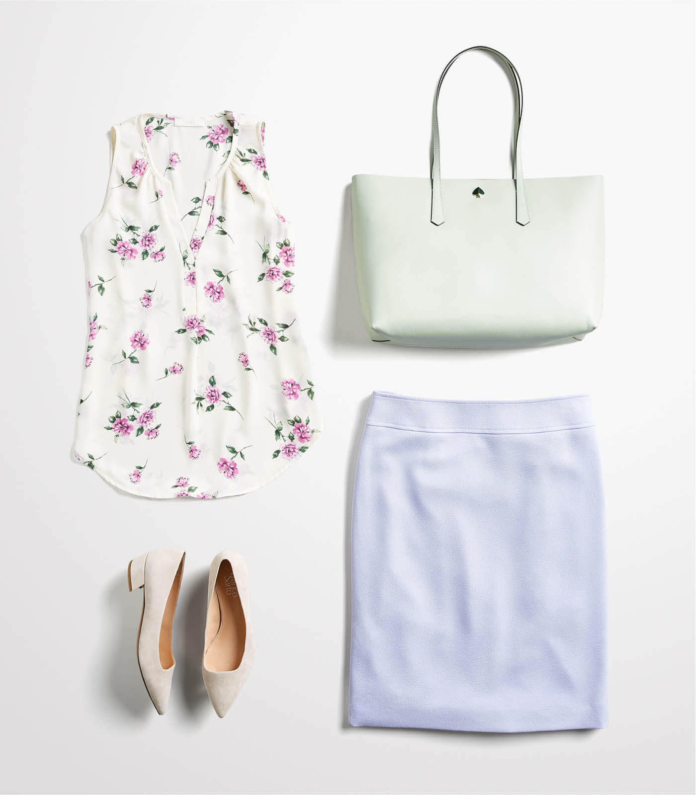 pencil skirt and tank outfit