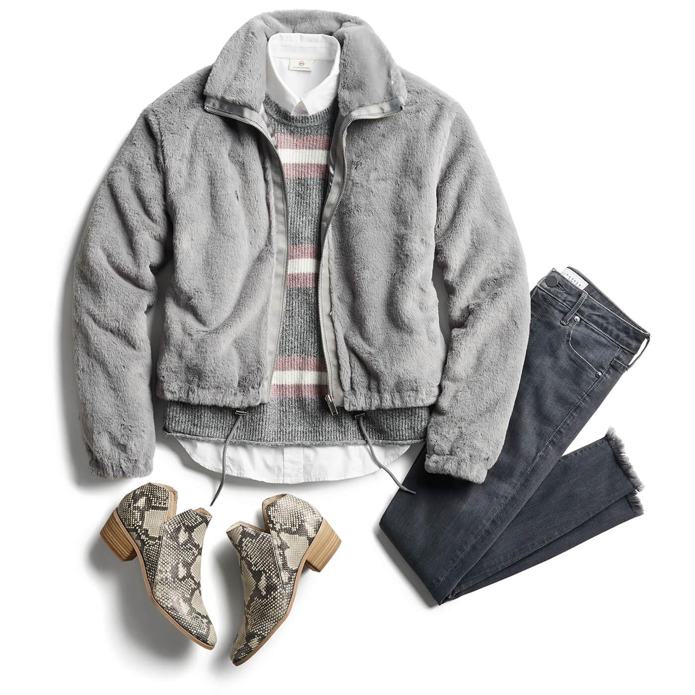 grey fleece jacket and grey jeans