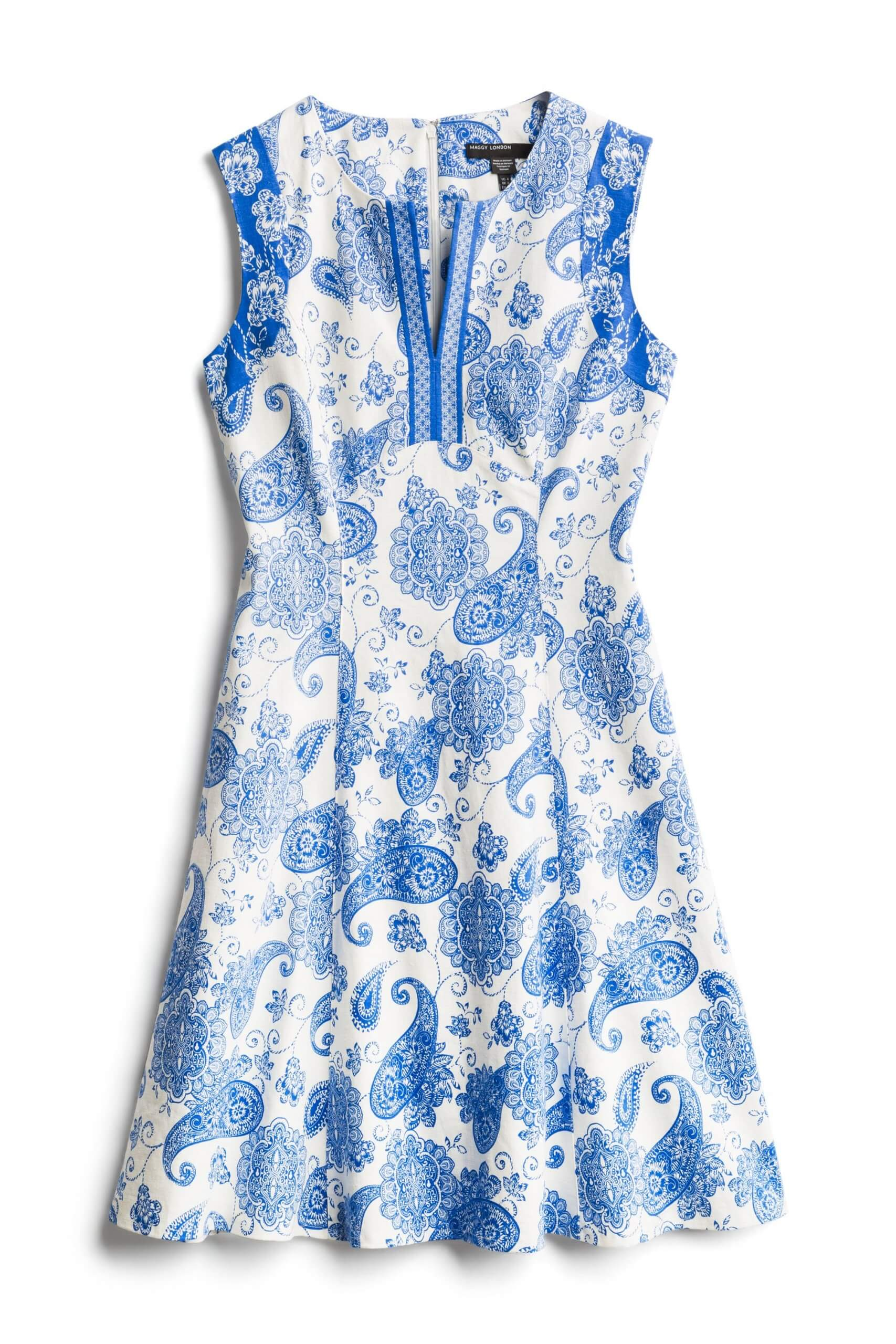 Stitch Fix Women's blue and white paisley print fit and flare dress.
