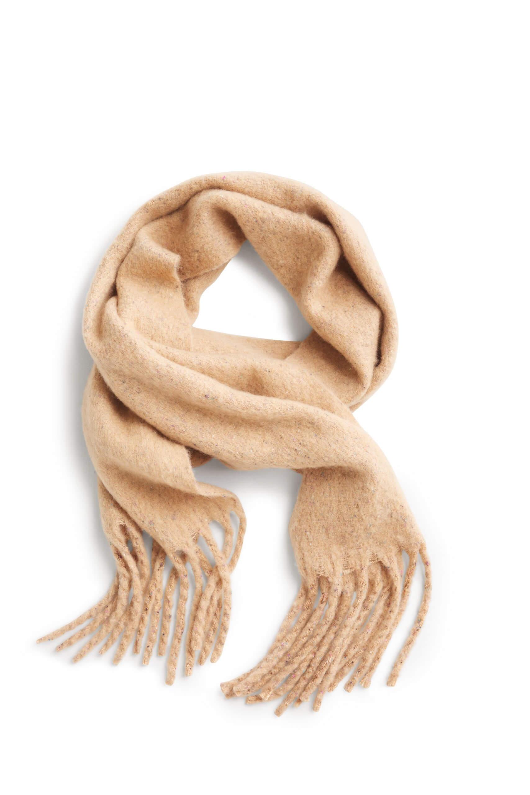 Stitch Fix Women's tan wrap scarf with fringe.