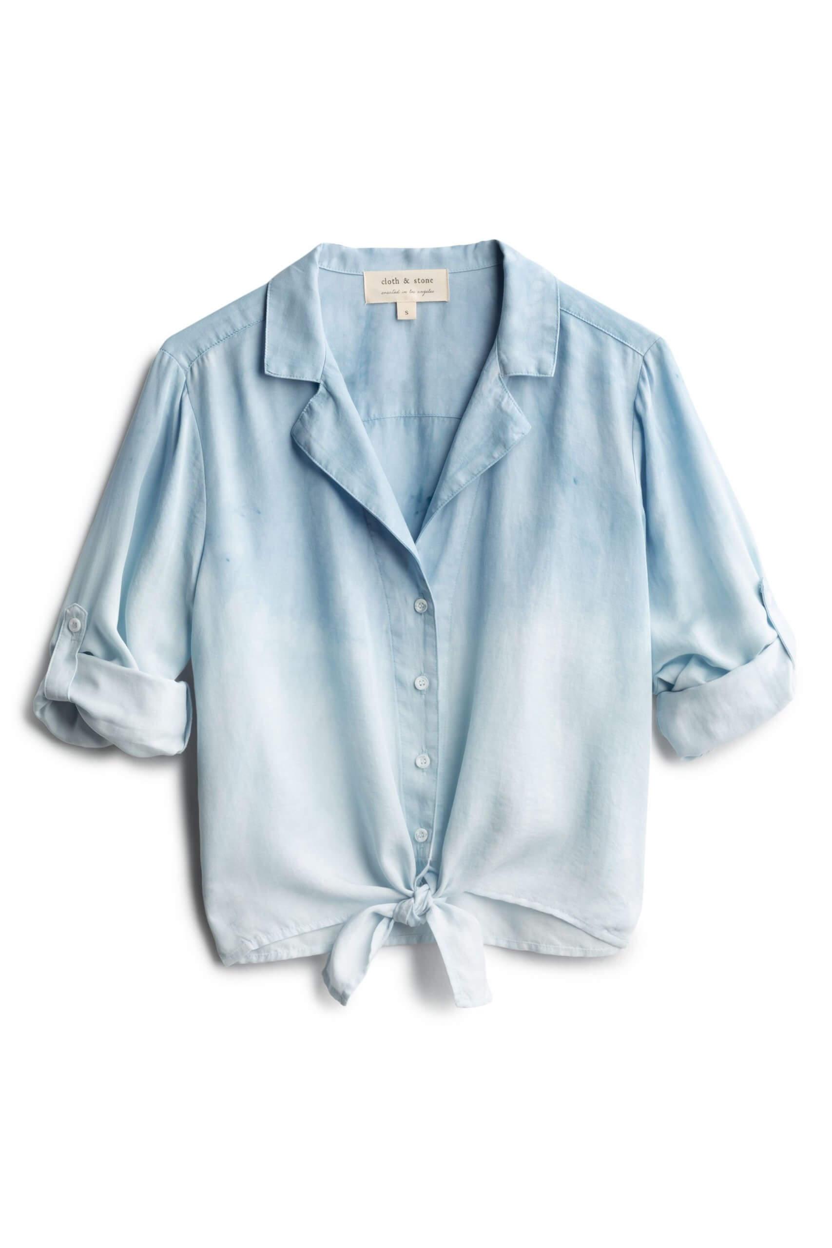 Stitch Fix Women's blue chambray top.