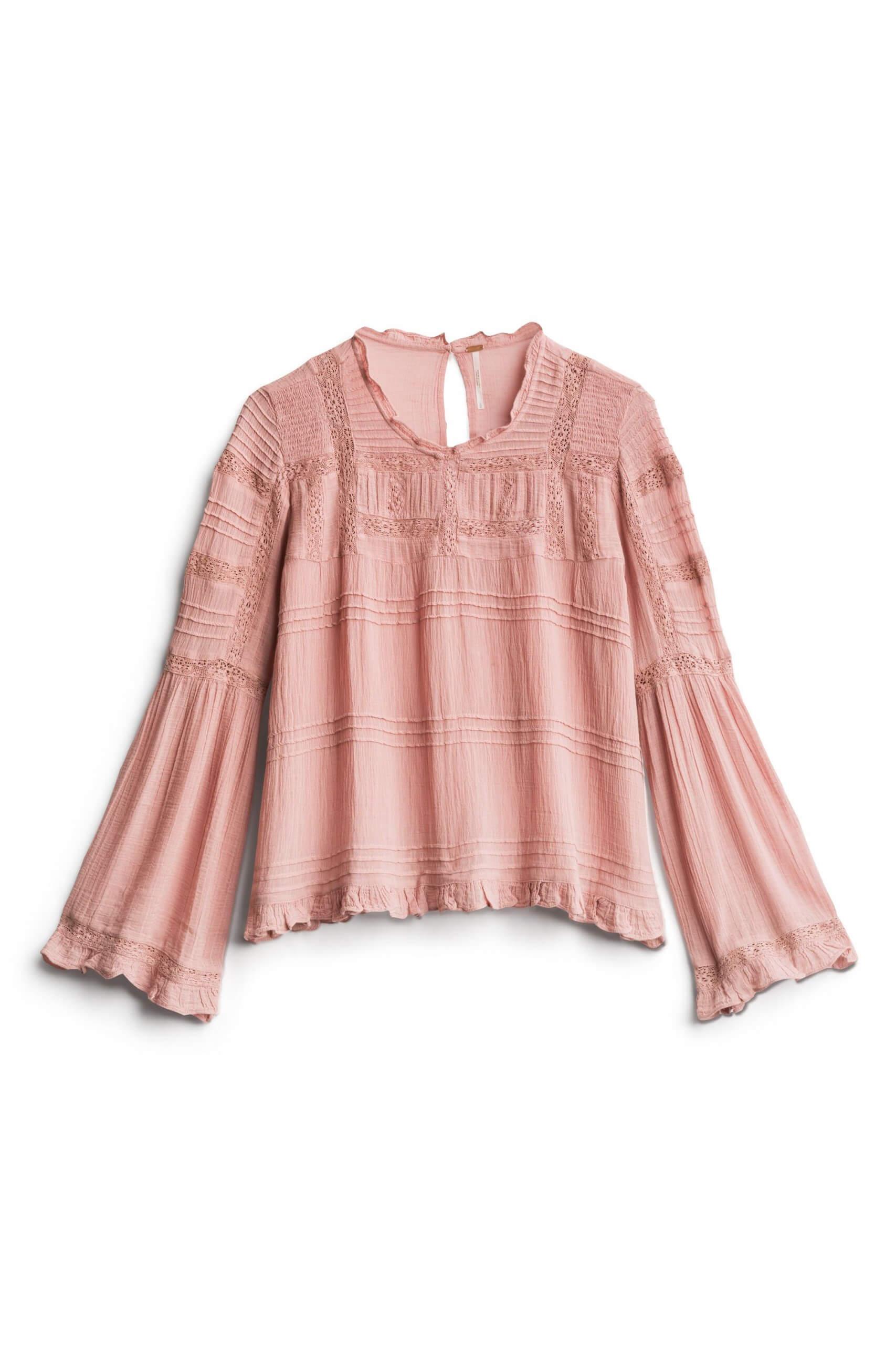 Stitch Fix Women's pink lace blouse.